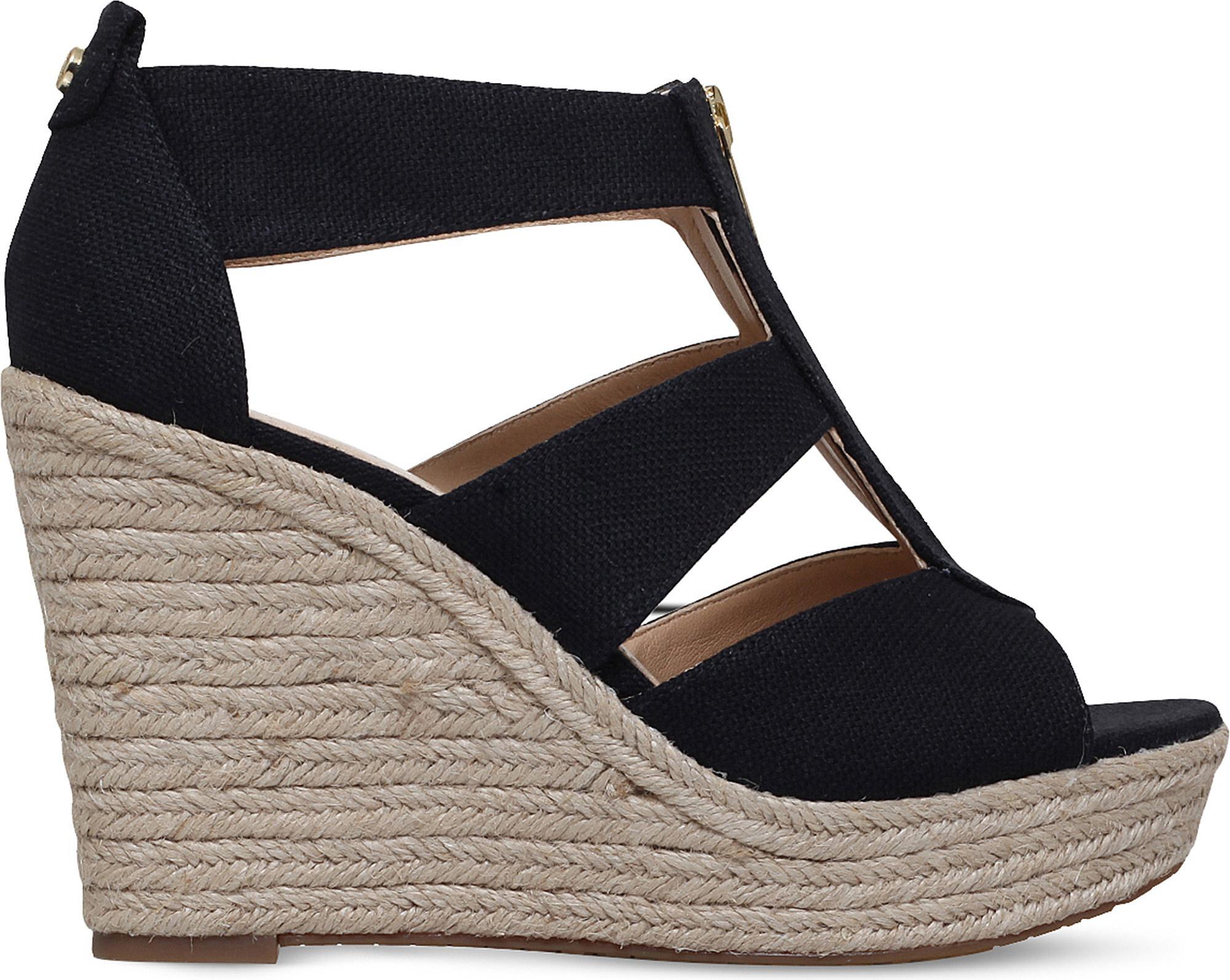 4c5df1e34341 Lyst - Michael Michael Kors Damita Espadrille Wedge Sandals in Black