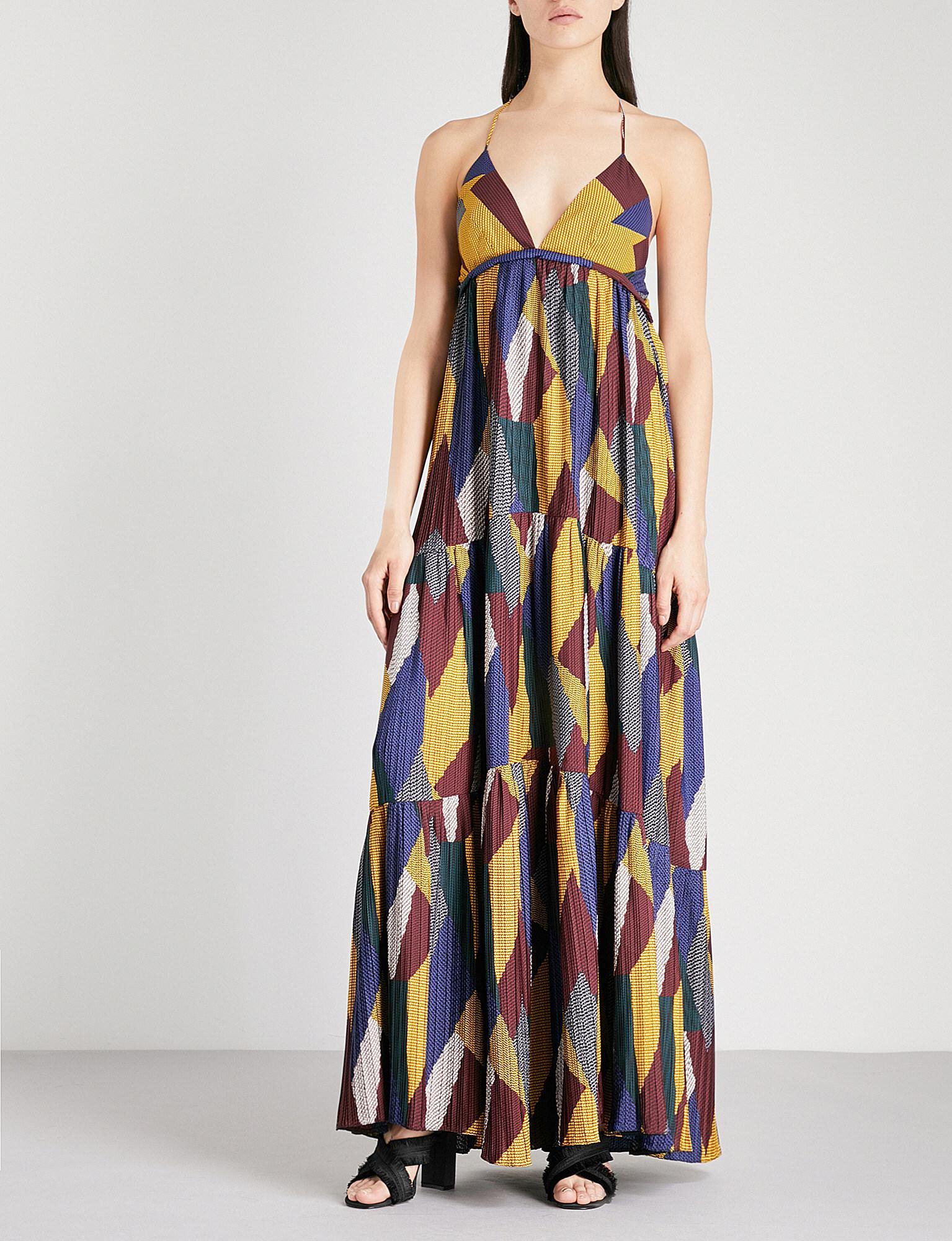 b671ab8583e Ba sh Weave Geometric-pattern Pleated Maxi Dress in Blue - Lyst
