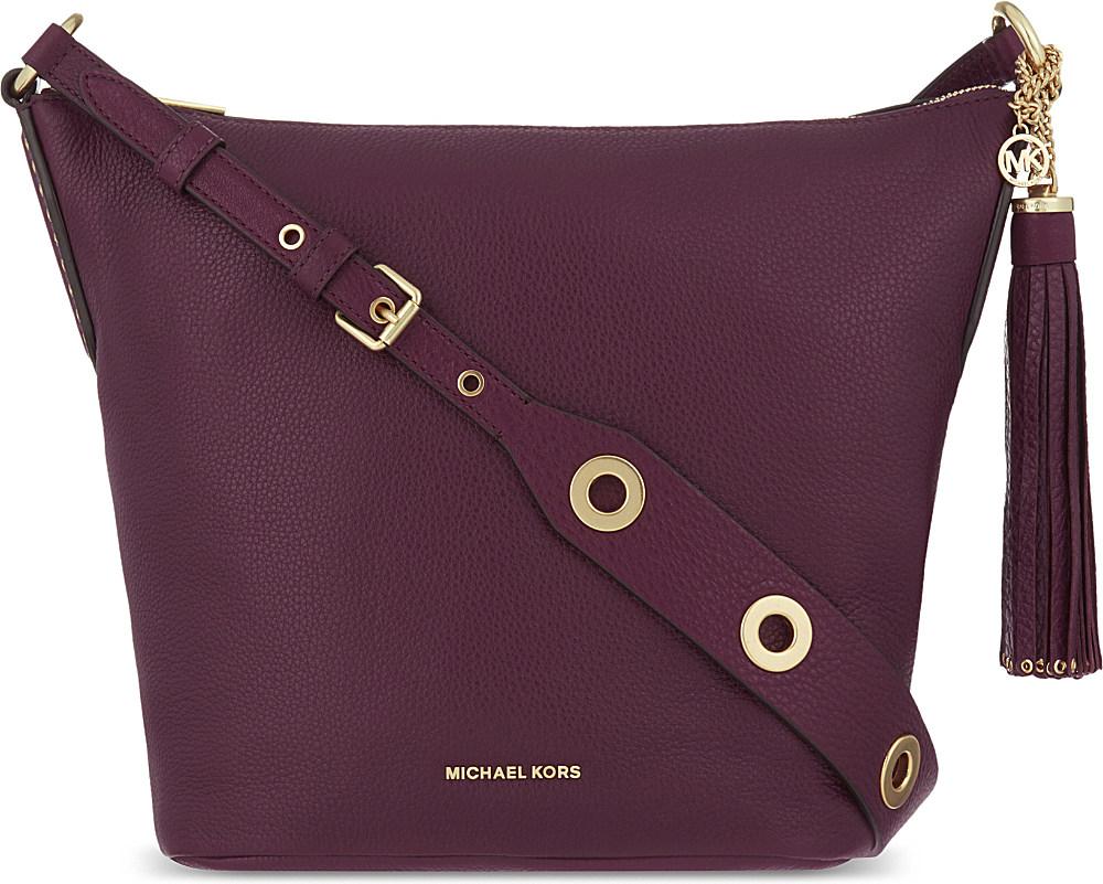 207029569fe3 MICHAEL Michael Kors Brooklyn Leather Shoulder Bag in Purple - Lyst