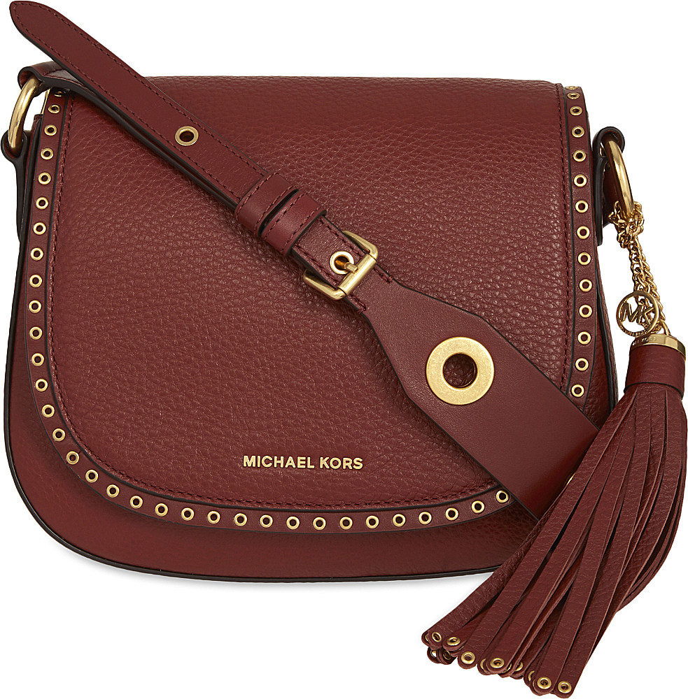 f2c70fcd17f44d MICHAEL Michael Kors Brooklyn Leather Saddle Bag in Brown - Lyst