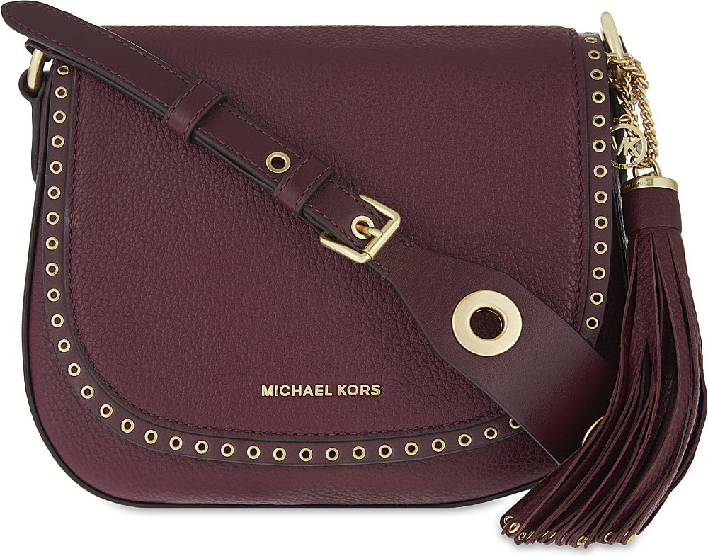1699bf6294398b MICHAEL Michael Kors Brooklyn Leather Saddle Bag in Purple - Lyst