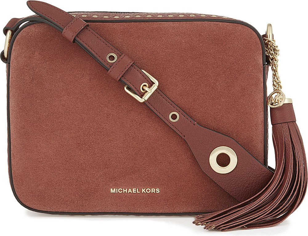 c238e69b6043 MICHAEL Michael Kors Brooklyn Large Suede And Leather Camera Bag in ...