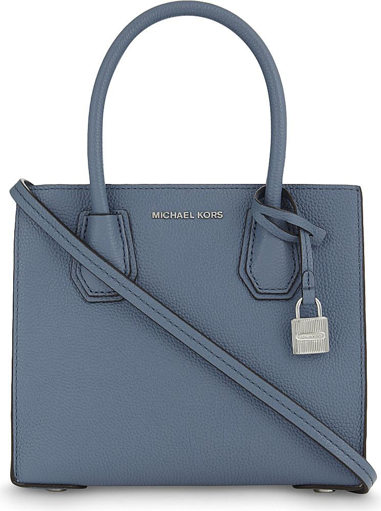 lyst michael michael kors mercer small leather tote in blue. Black Bedroom Furniture Sets. Home Design Ideas