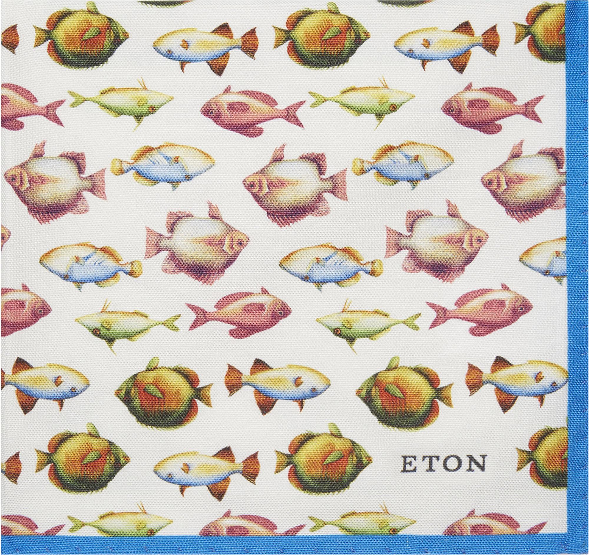 ETON PURPLE /& WHITE FISH PRINT POCKET SQUARE