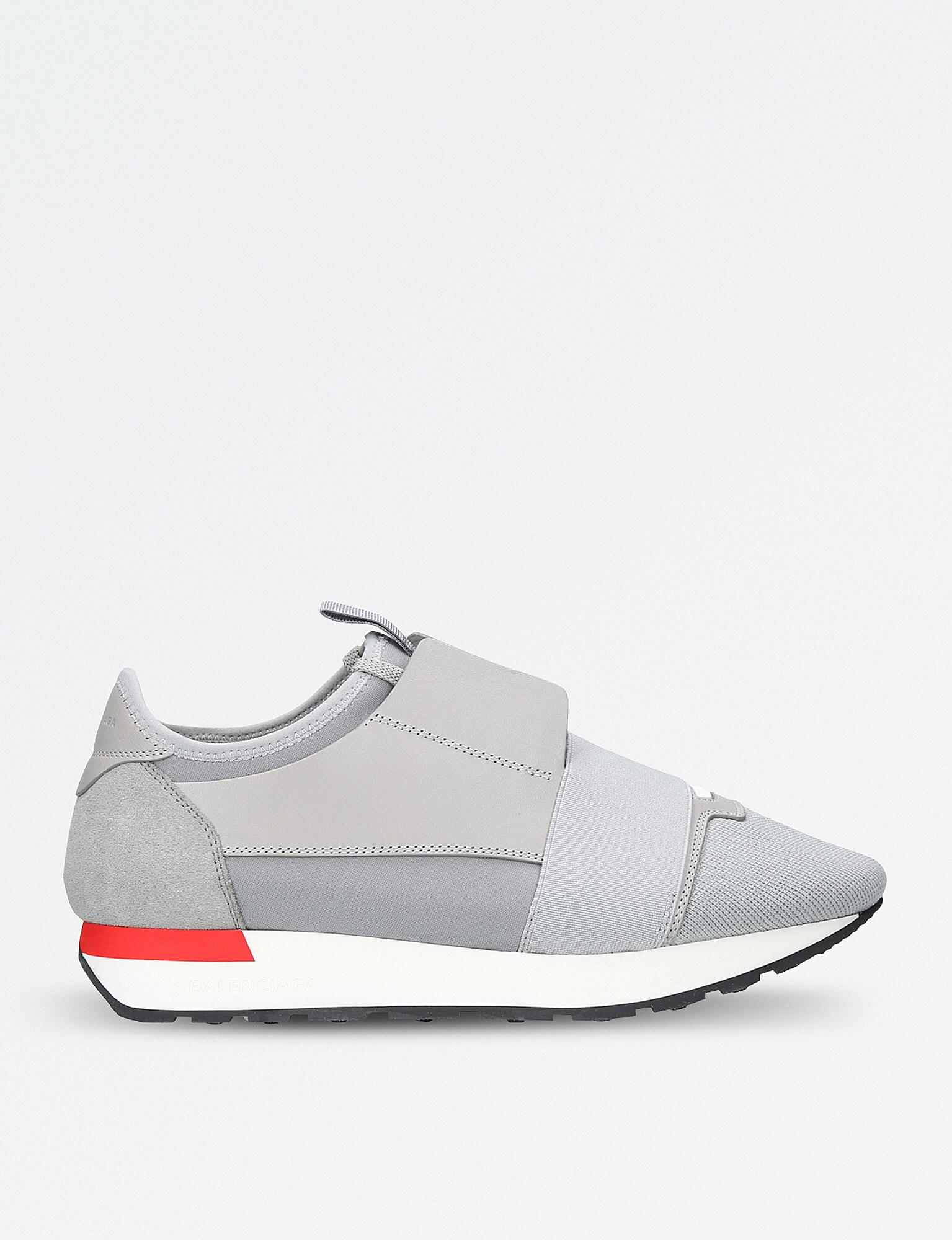 8f209d02b2e3 Balenciaga Race Runners Leather And Mesh Trainers in Gray for Men - Lyst