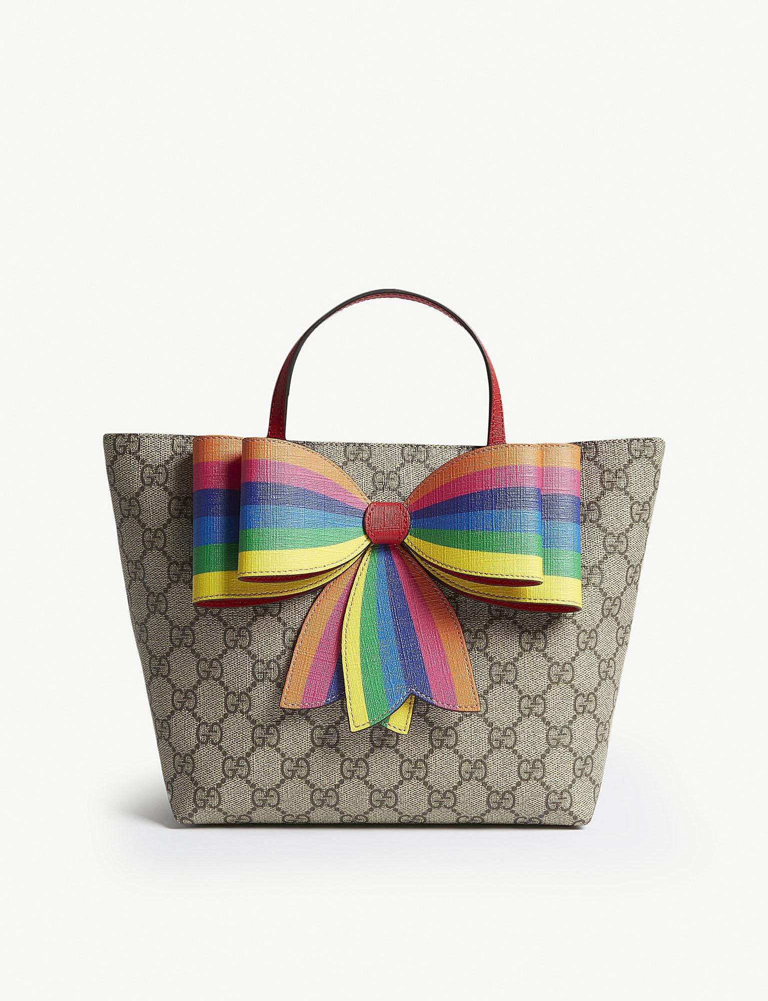 ab131e4c379 Gucci GG Supreme Canvas Tote Bag W  Rainbow Bow - Lyst