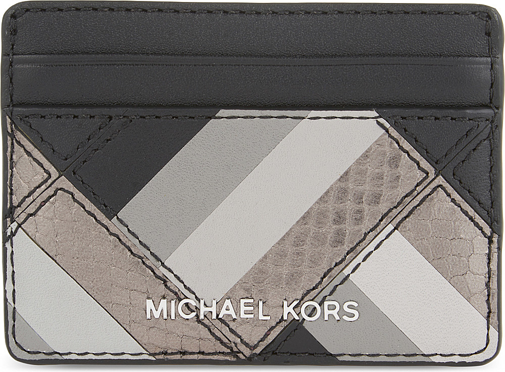 18cc12003300a2 Lyst - MICHAEL Michael Kors Marquetry Leather Card Holder in Black
