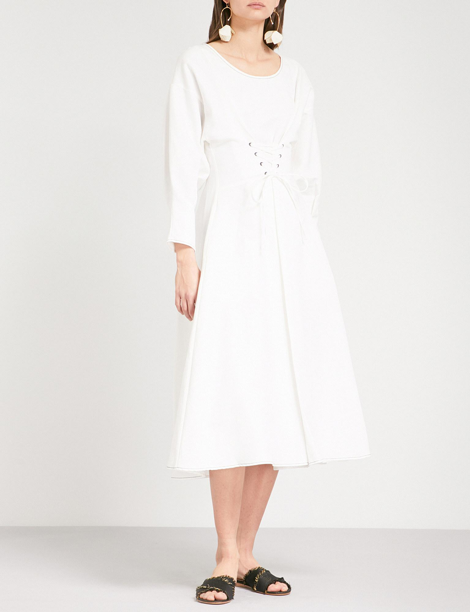 01c4b6fce90 Rejina Pyo Irene Fit-and-flare Linen And Cotton-blend Dress in White ...