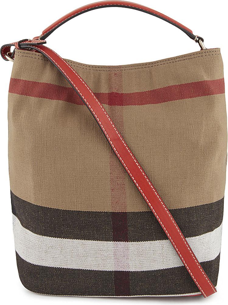 Burberry Ashby Medium Canvas Bucket Bag in Red  03c6ca1fef6c7