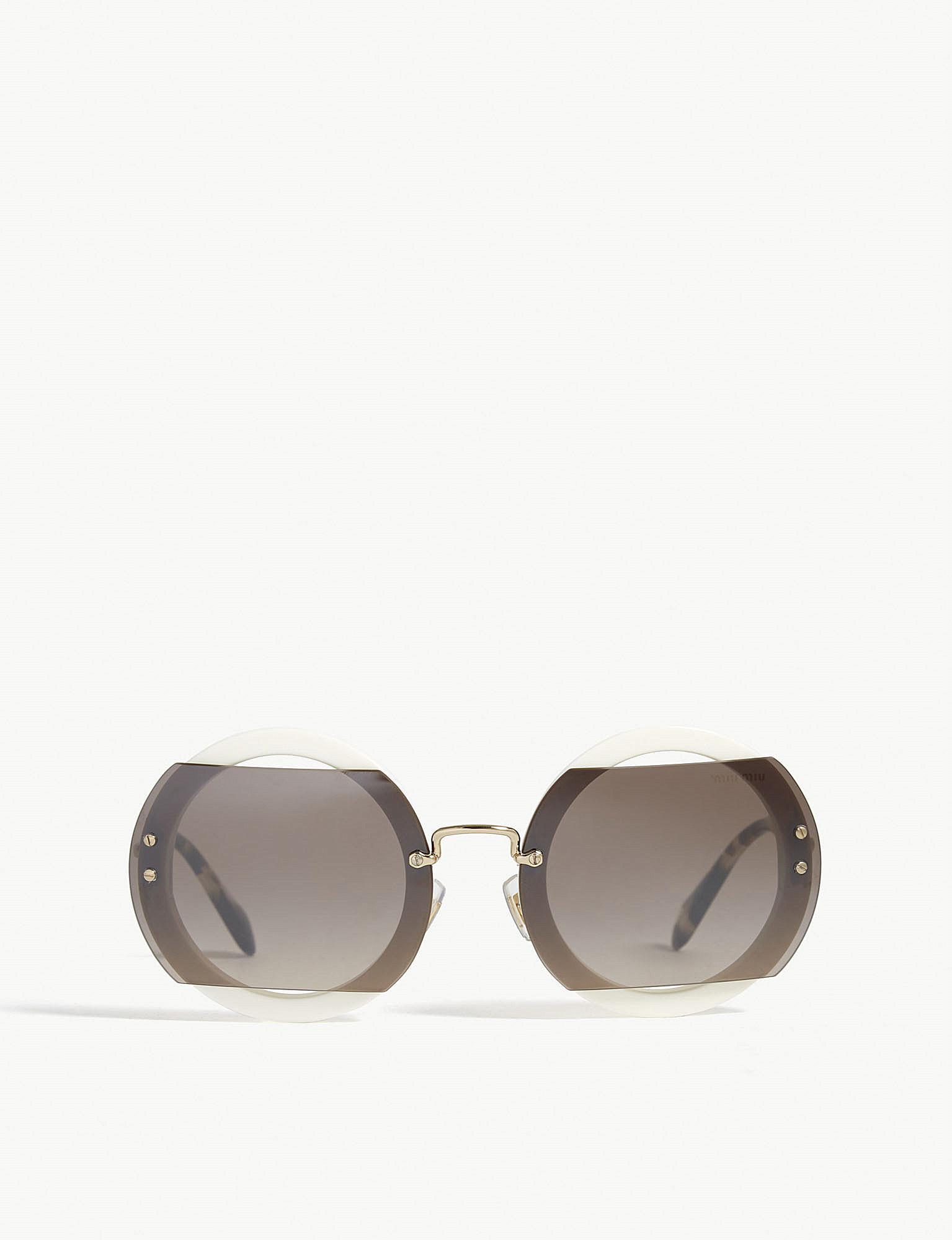 4bdebcbba31 Lyst - Miu Miu Mu06s Reveal Round-frame Sunglasses in Gray