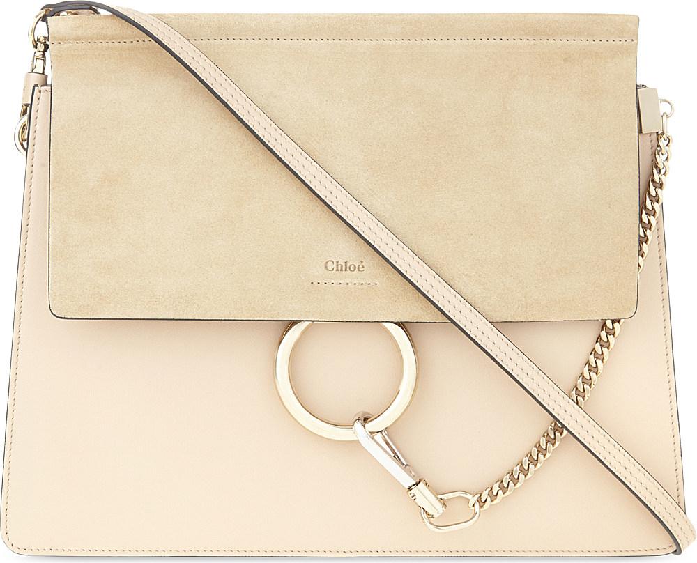 a703cb2490 Chloé Faye Medium Leather Satchel in Natural - Lyst