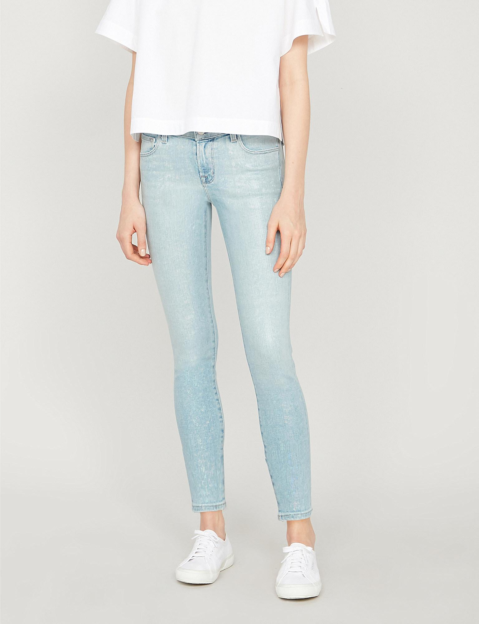 02b9136319b88 Lyst - J Brand 835 Cropped Mid-rise Foiled Skinny Jeans in Blue