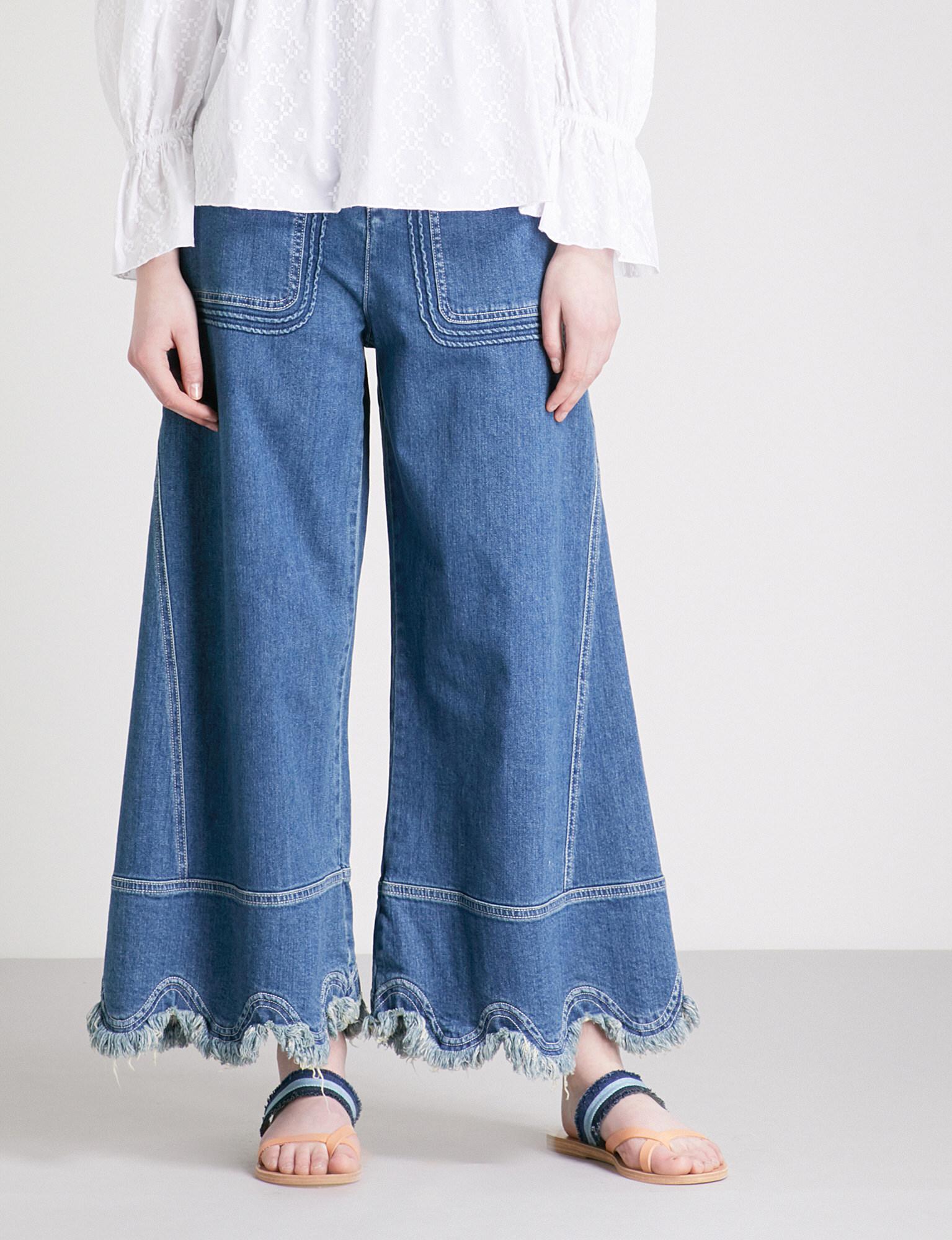 Festonnés Des Jeans À Jambes Larges De Grande Hauteur - Mi Denim Voir Par Chlo WA8lW