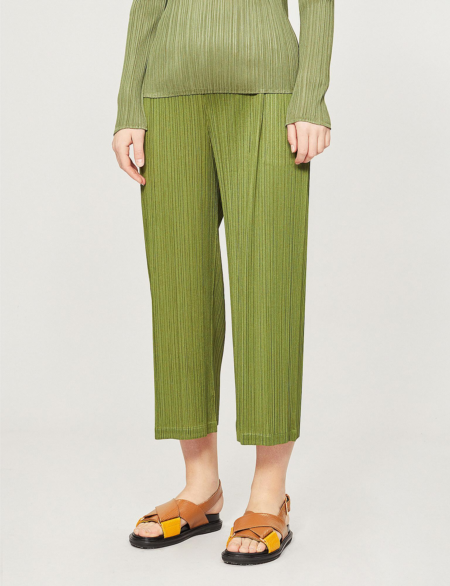 47988ce98a Pleats Please Issey Miyake. Women's Green Moncol High-rise Cropped Pleated  Wide-leg Trousers