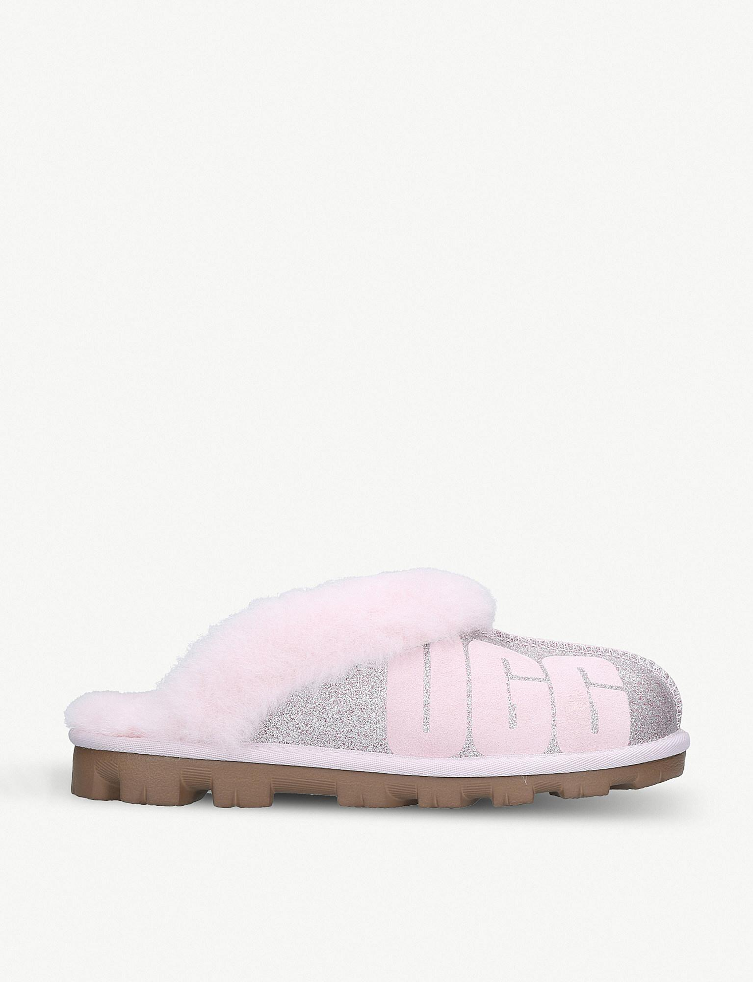 63967a9e6bd Ugg Pink Coquette Sparkle Suede And Sheepskin Slippers