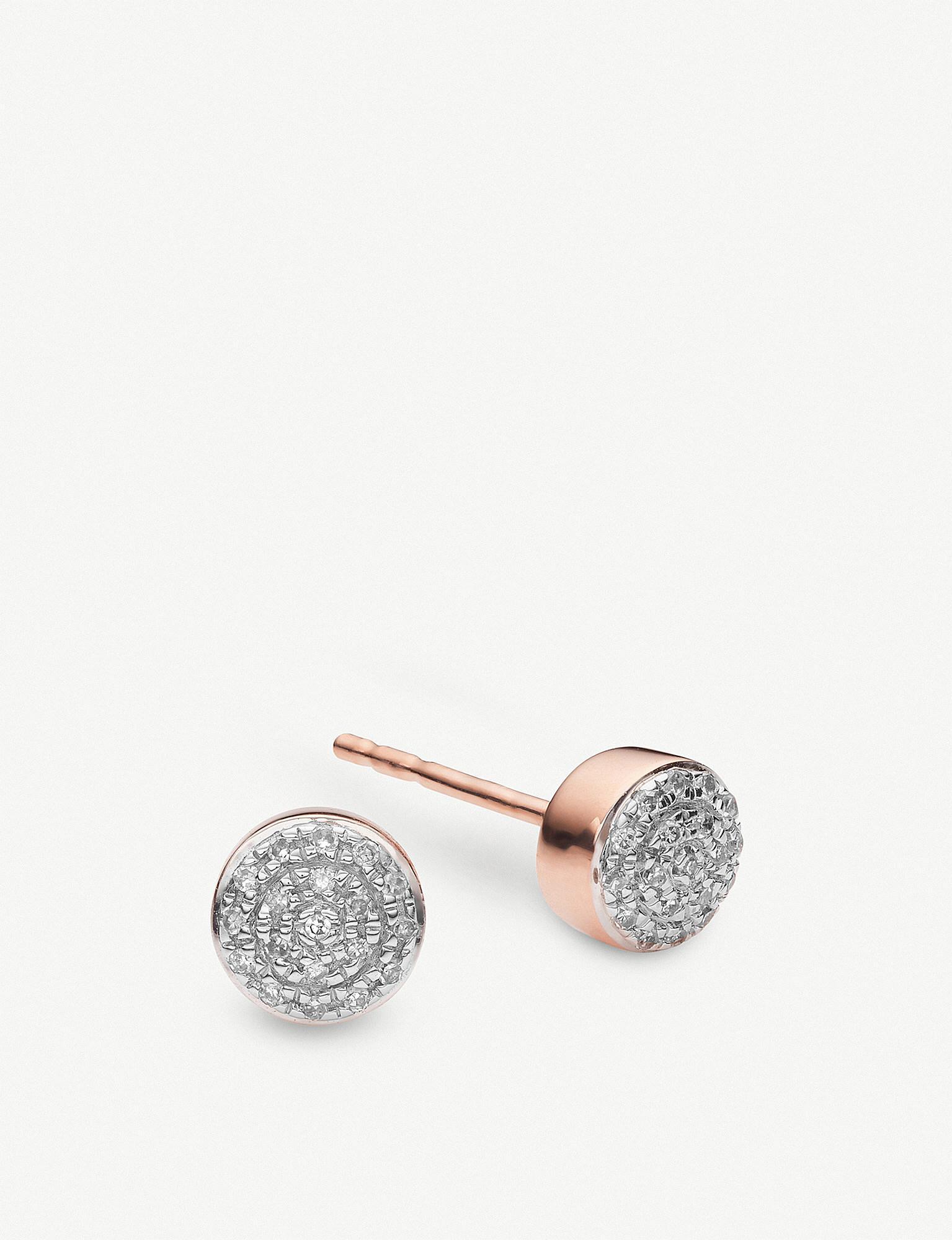 Fidji Or Rose Boucles D'oreilles En Diamant Vermeil - Taille Monica Vinader FgcEXR