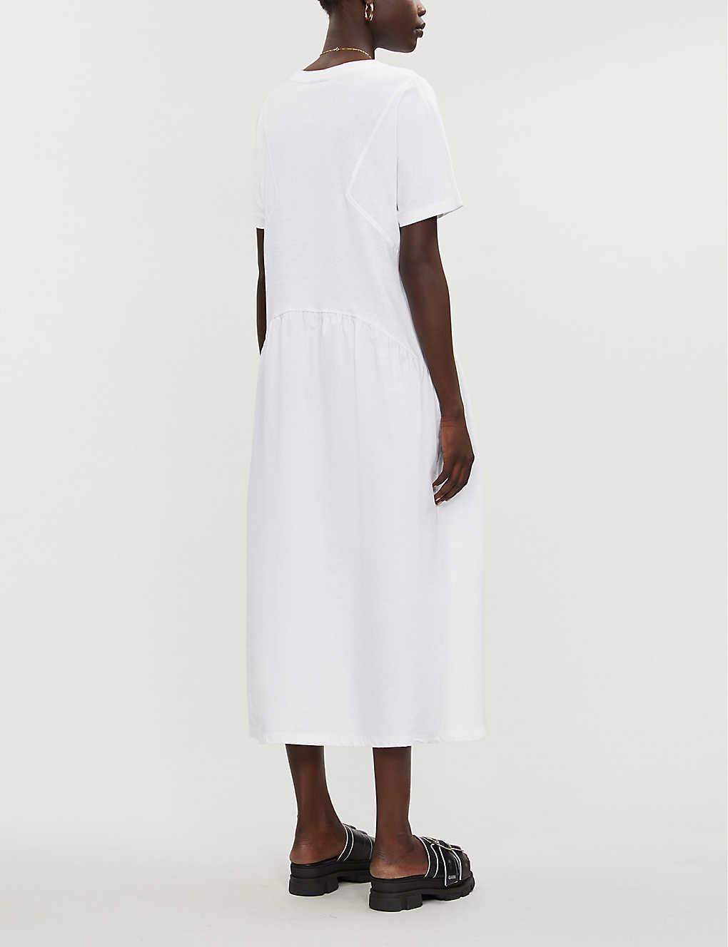 TOPSHOP Cotton White Poplin Mix Midi Chuck On Dress   Lyst