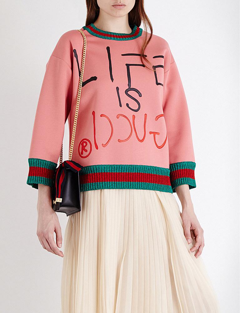 9314556c9a Gucci Life Is Cotton-neoprene Sweatshirt in Pink - Lyst