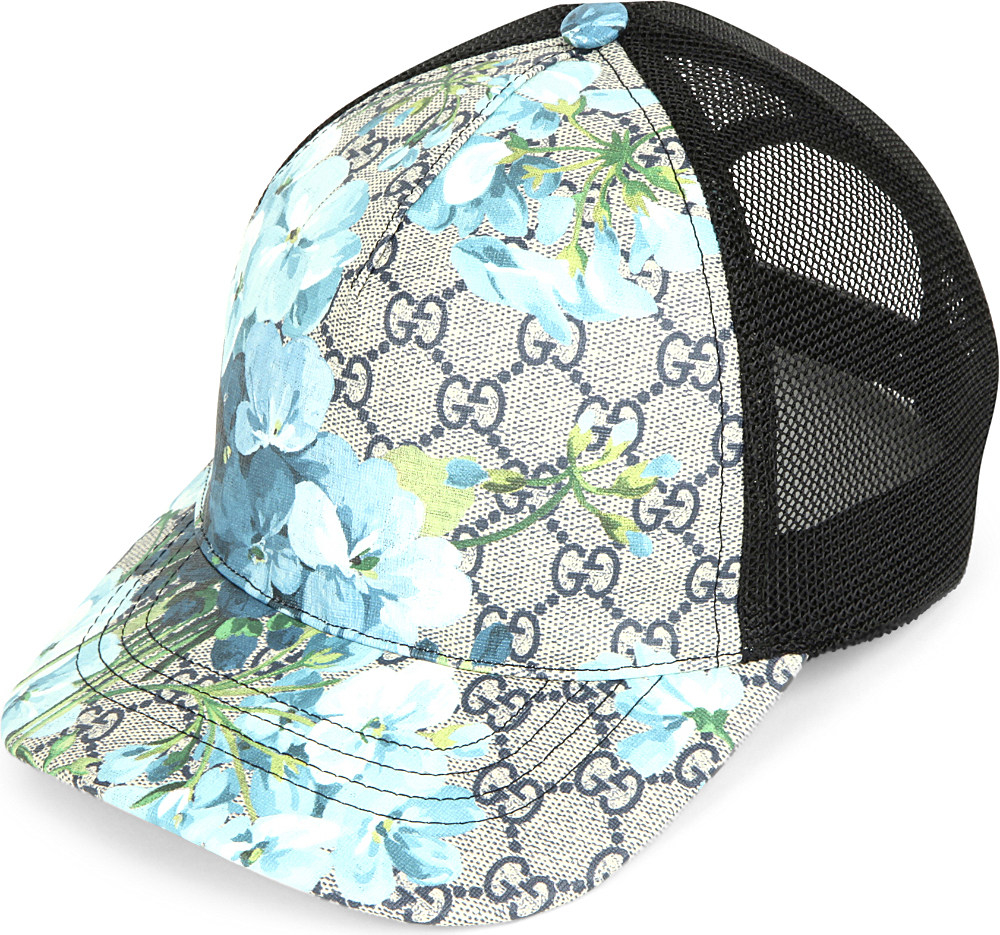 e65f46f3564ca Gucci Floral-print Monogram Trucker Cap in Blue for Men - Lyst