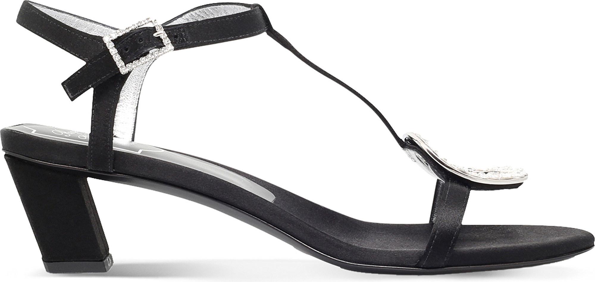 89811155709f Roger Vivier Chips Satin Heeled Sandals in Black - Lyst