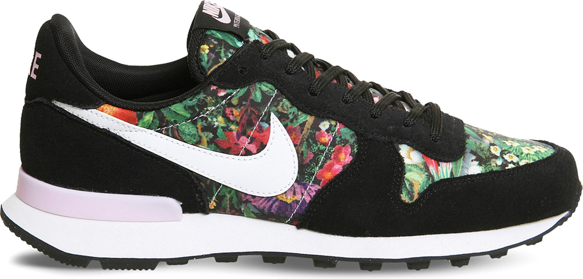 Men Nike Internationalist Floral Trainers Black White Pink 519807
