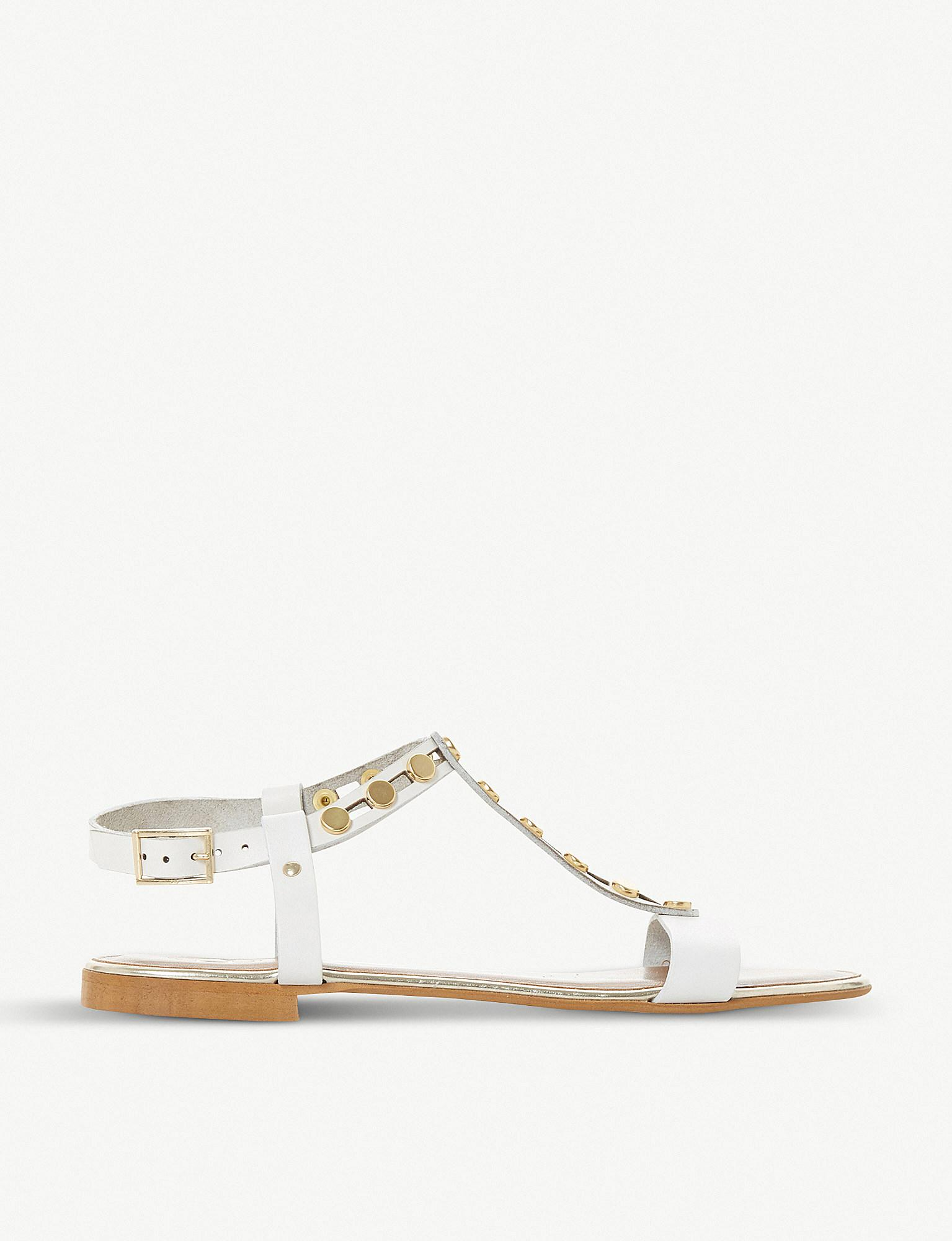 20415d9c12f29 Dune White Leather  lexxa  Ankle Strap Sandals in White - Lyst