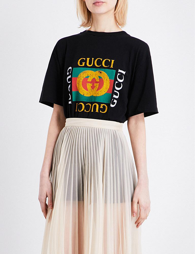 lyst gucci embroidered logo cotton jersey t shirt in black. Black Bedroom Furniture Sets. Home Design Ideas