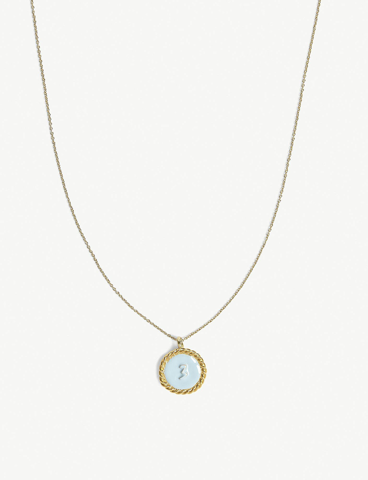 Lyst maje number 3 medallion brass necklace in metallic gallery mozeypictures Image collections