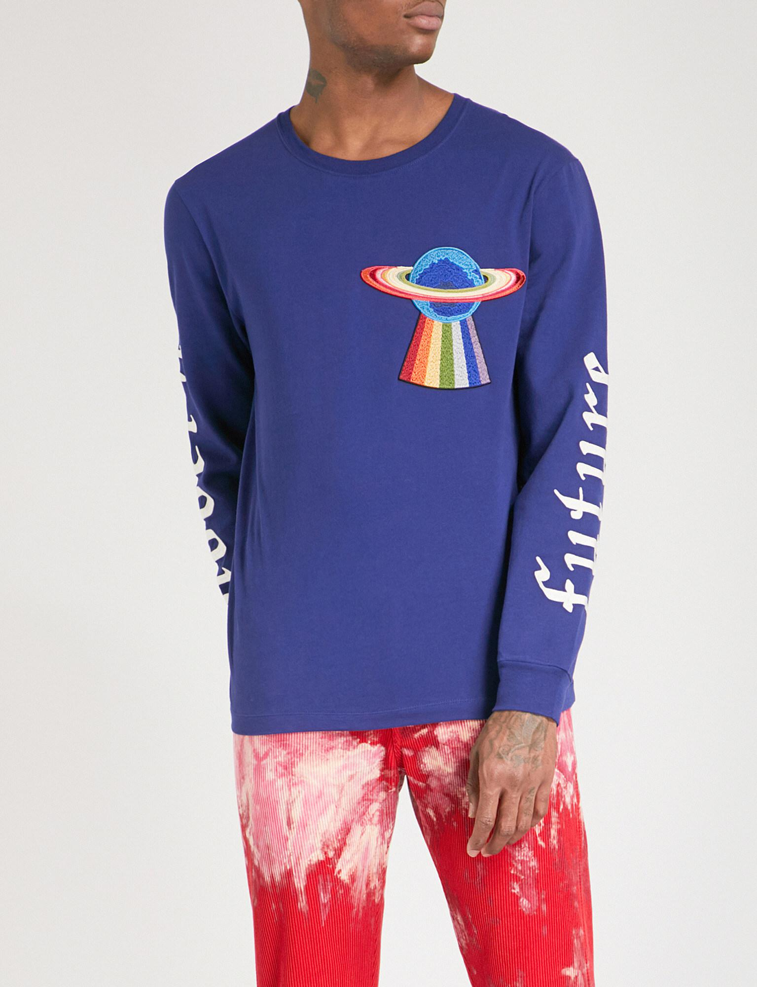 48819cae98a9 Gucci Ufo-embroidered Cotton-jersey T-shirt in Blue for Men - Lyst