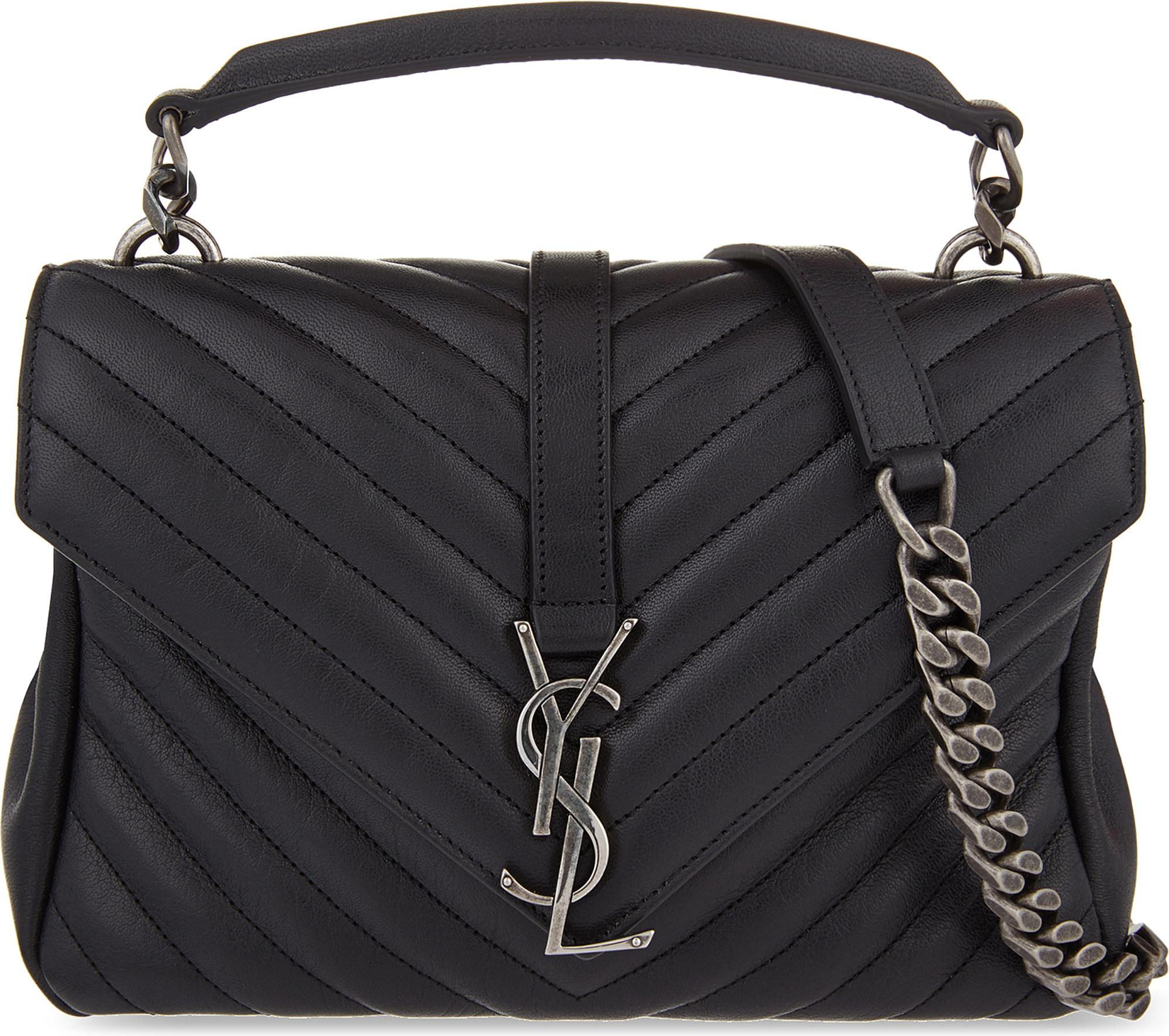 Saint Laurent. Women s Black Monogram College Small Quilted Leather Shoulder  Bag fd92cfdc05b83