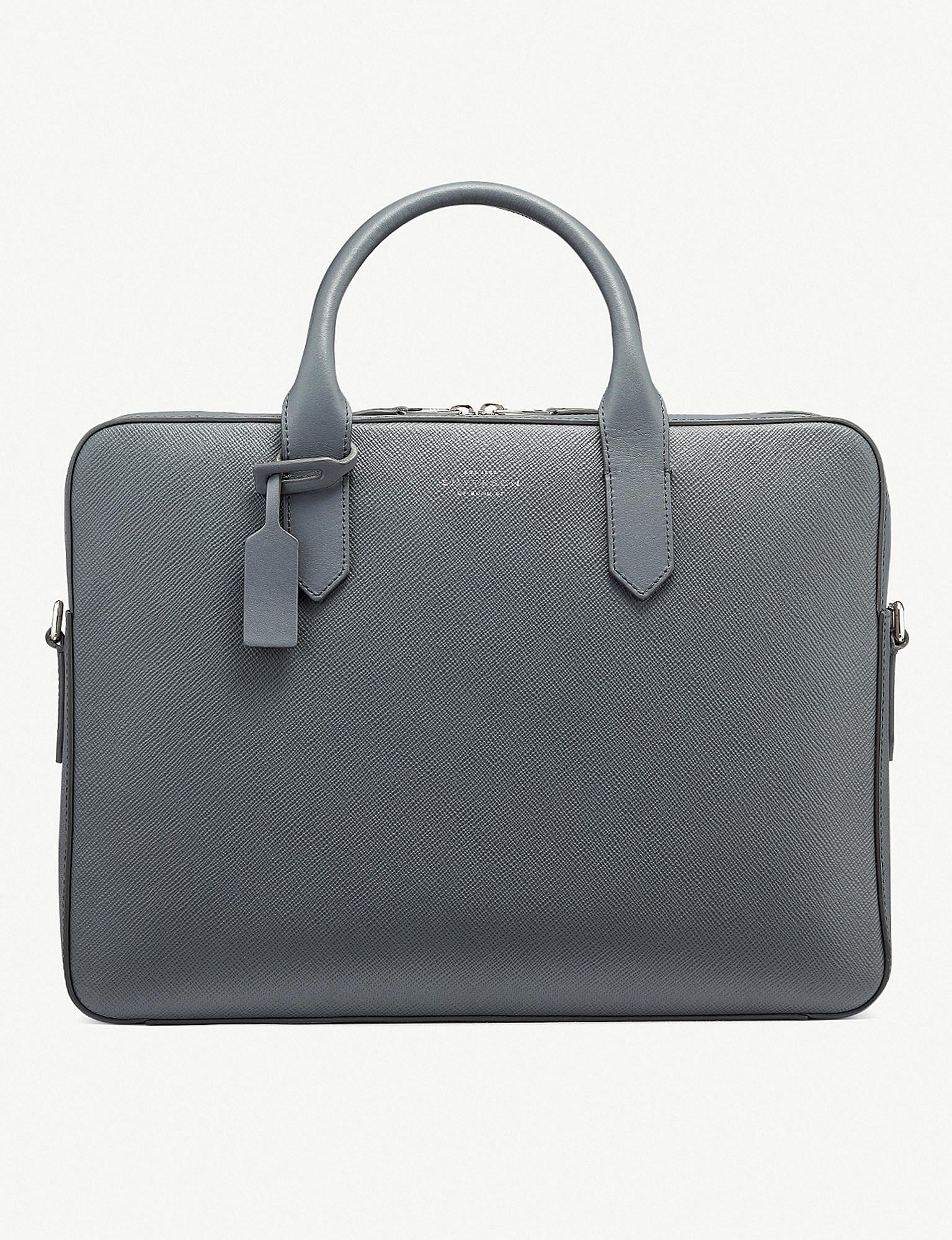 ee0a9b0fee Lyst - Smythson Panama Cross-grain Leather Slim Briefcase in Black
