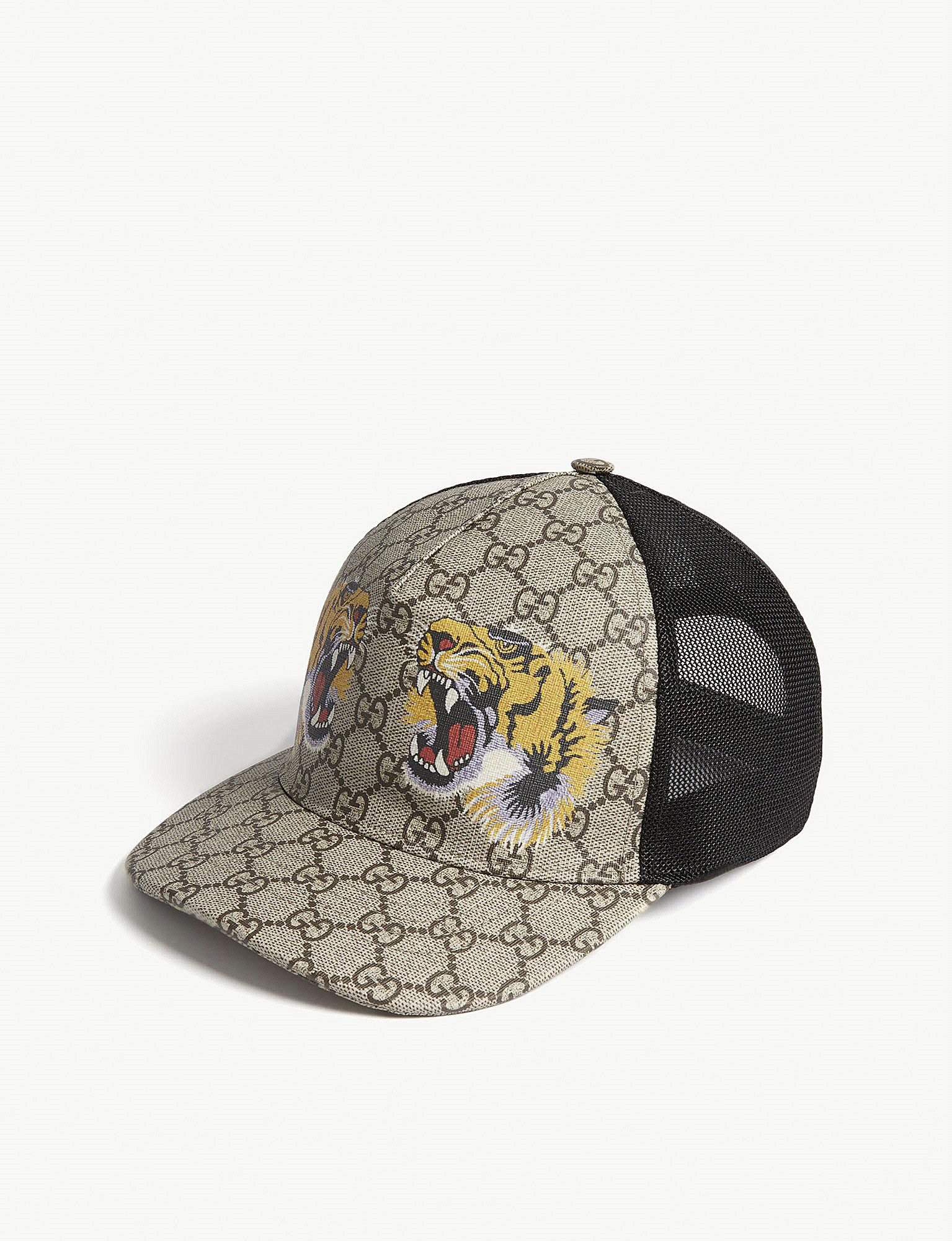 983d972038083 Gucci Tiger Logo Cap in Brown for Men - Lyst