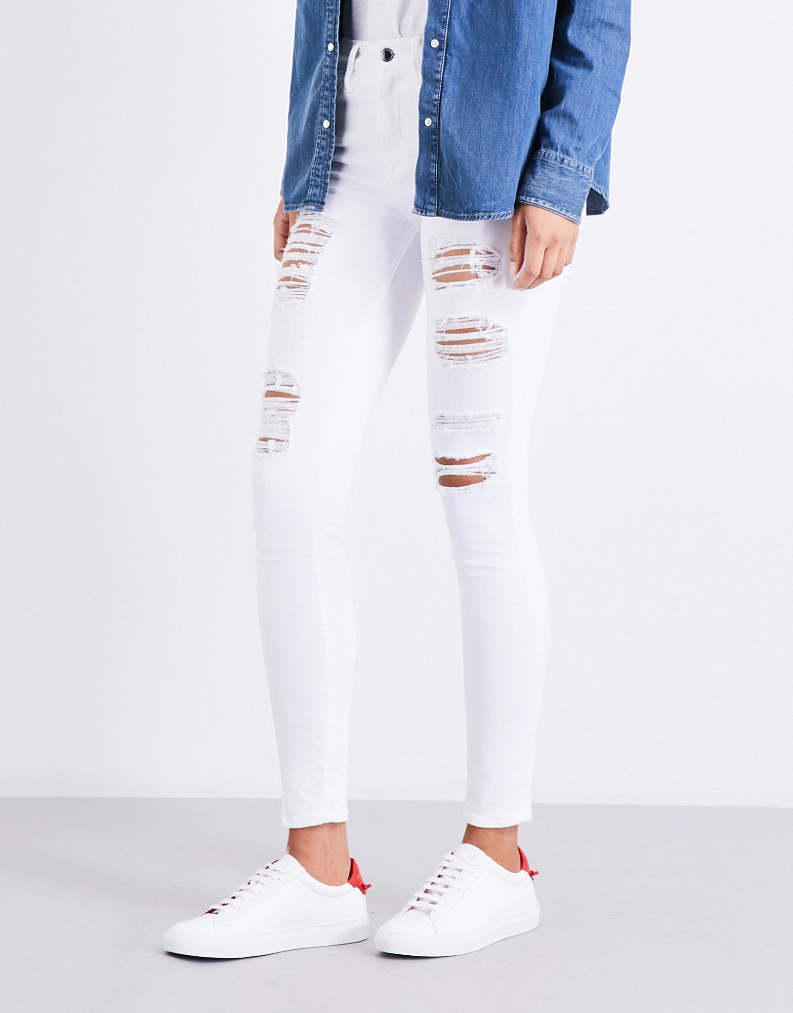 1acefb122be Lyst - GOOD AMERICAN Good Legs Ripped Skinny High-rise Jeans in White