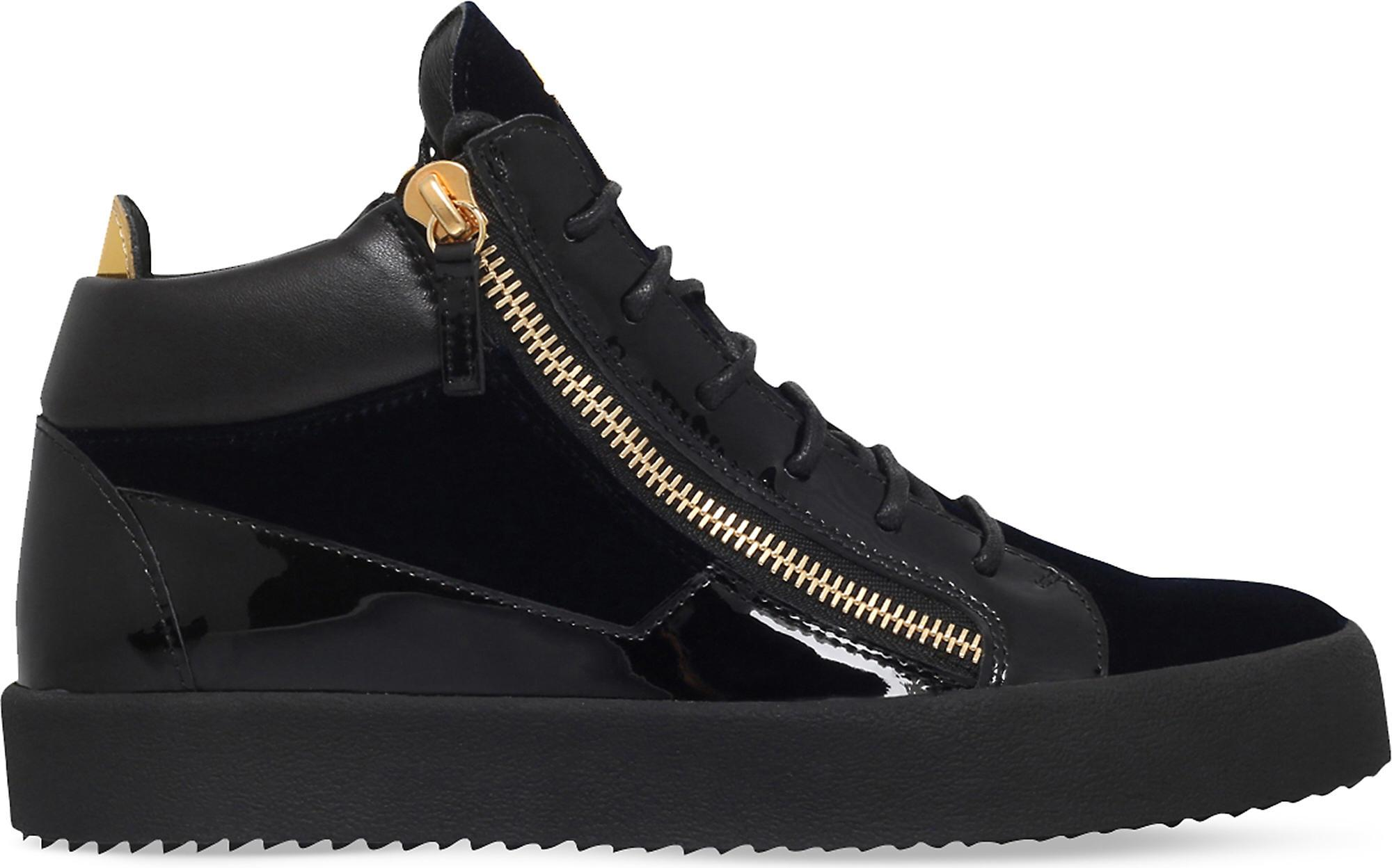 c81eb9589fefd Tap to visit site. Giuseppe Zanotti - Blue Kriss Velvet And Patent Leather  High- Top Trainers for Men -