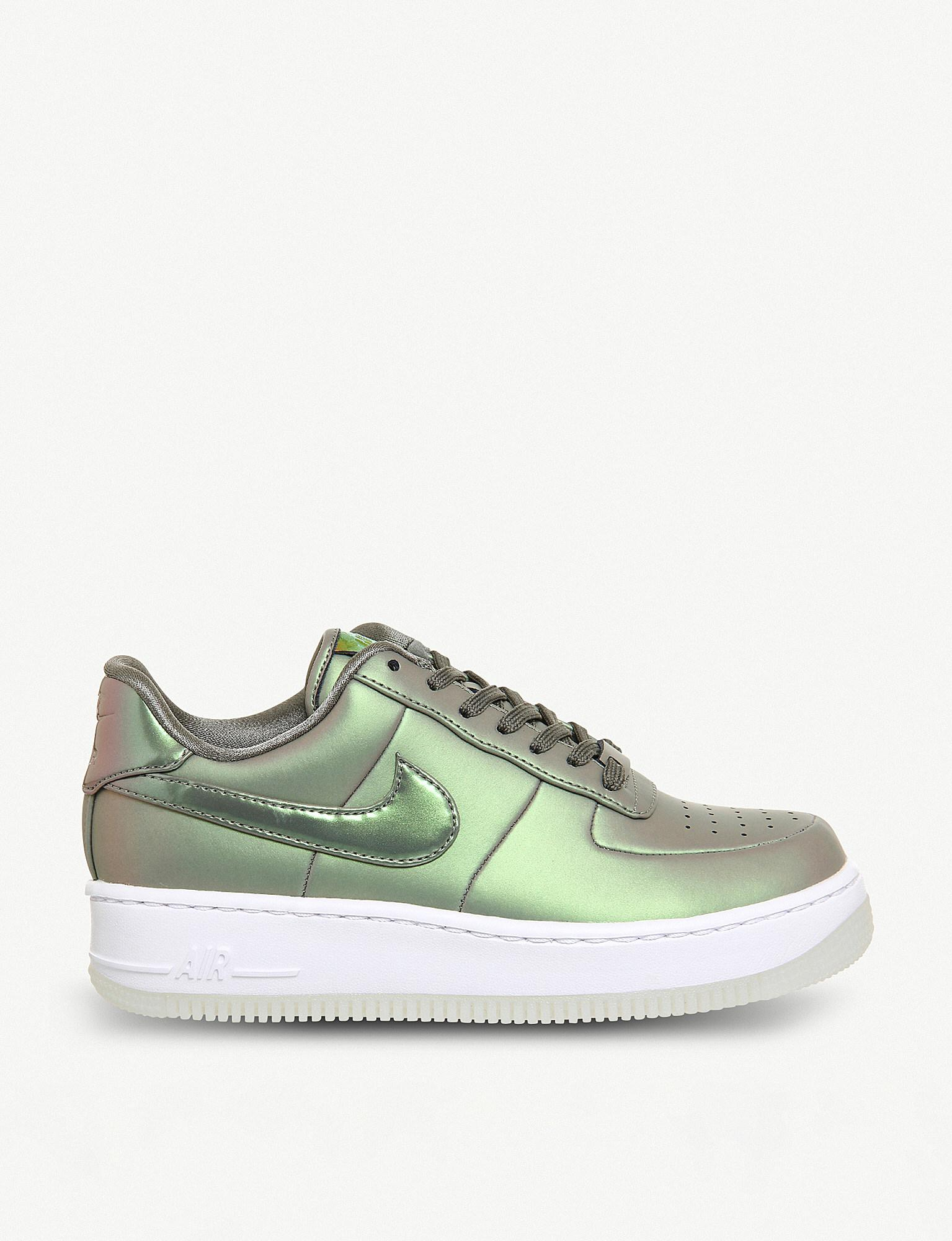 closer at pretty nice new high quality Air Force 1 Upstep Iridescent Metallic Leather Trainers