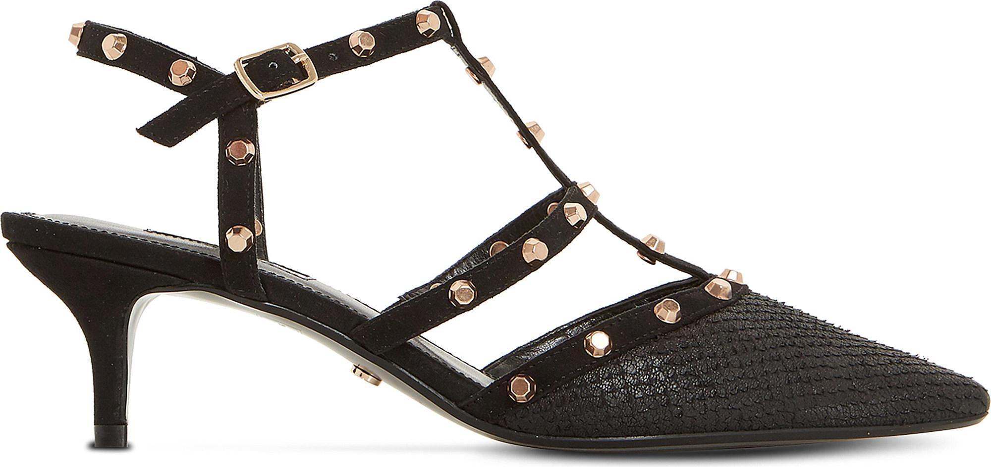 Casterly Studded-strap Kitten Heels