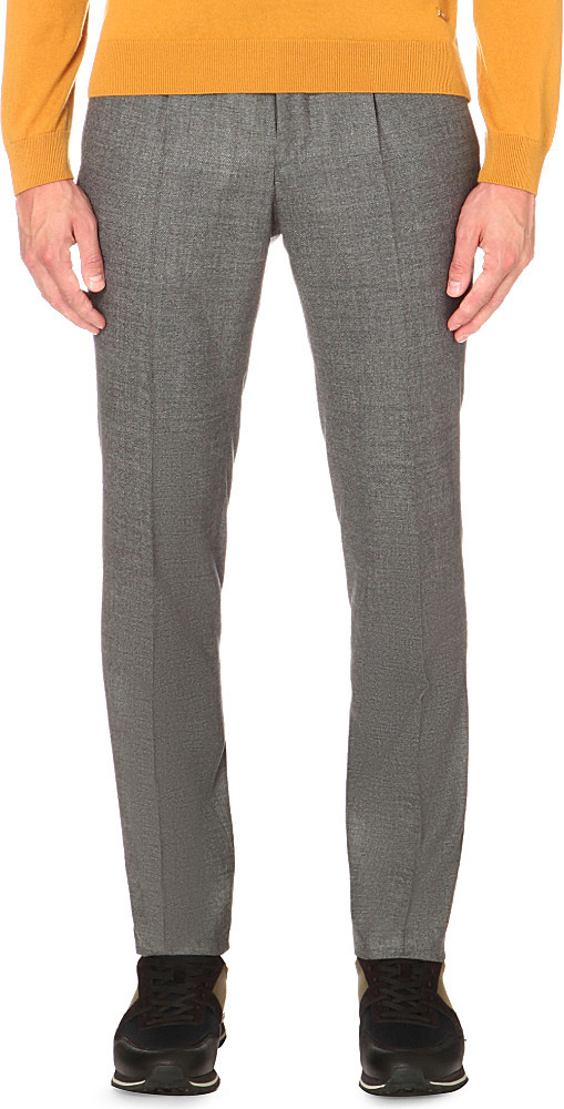 Boss Tailored-fit Tapered Wool Trousers in Gray for Men