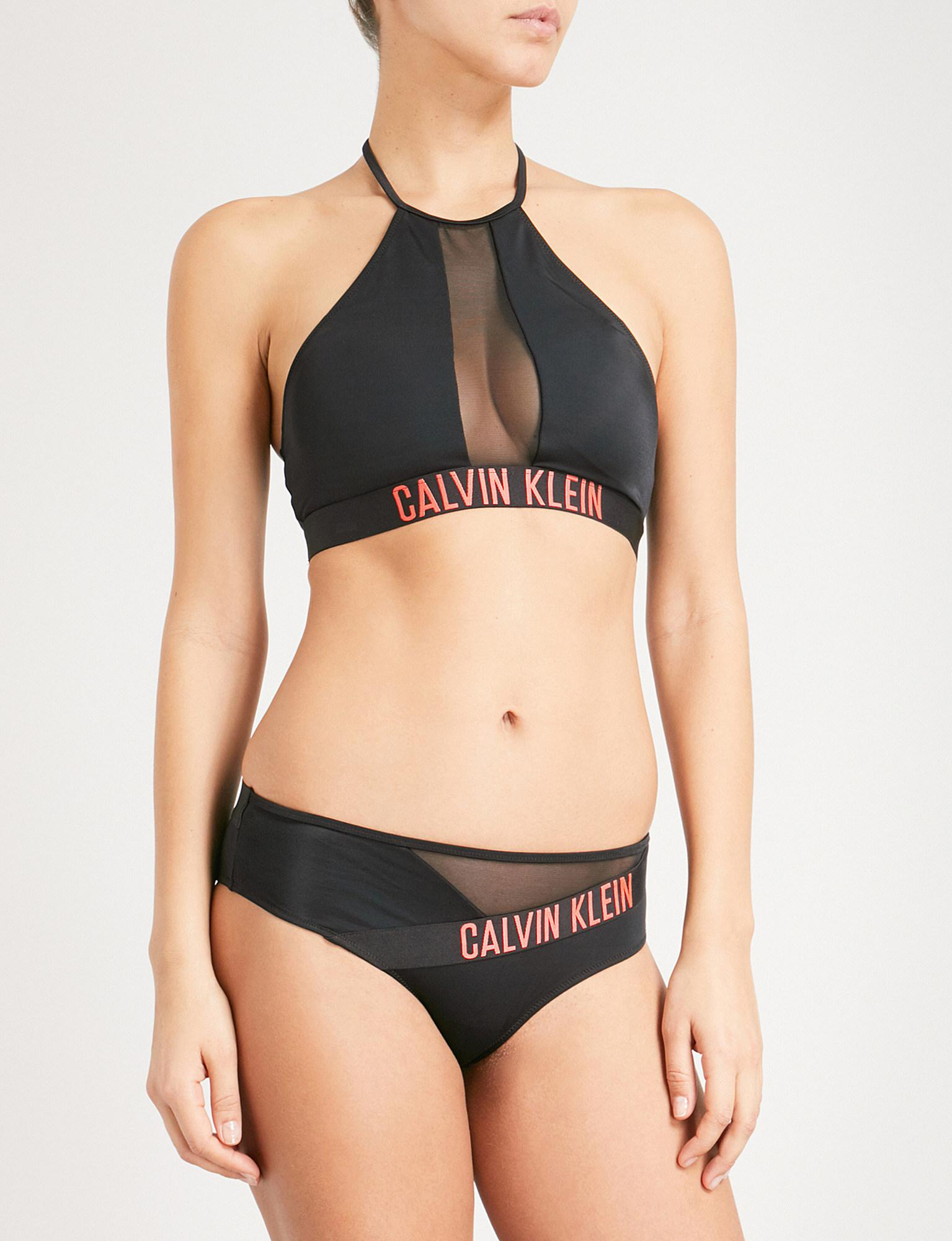 e5f02bd5b0e Lyst - CALVIN KLEIN 205W39NYC Mesh-panel Bikini Cropped Top in Black