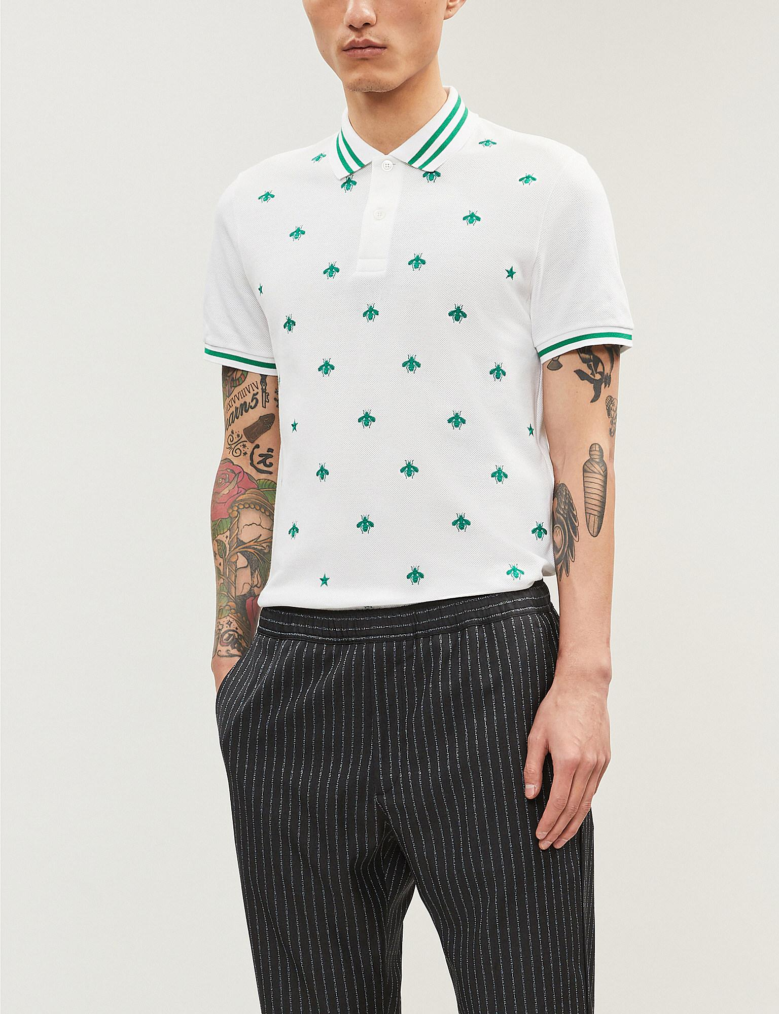 2295f2a30d71 Gucci Bee-embroidered Stretch Cotton-piqué Polo Shirt in White for ...