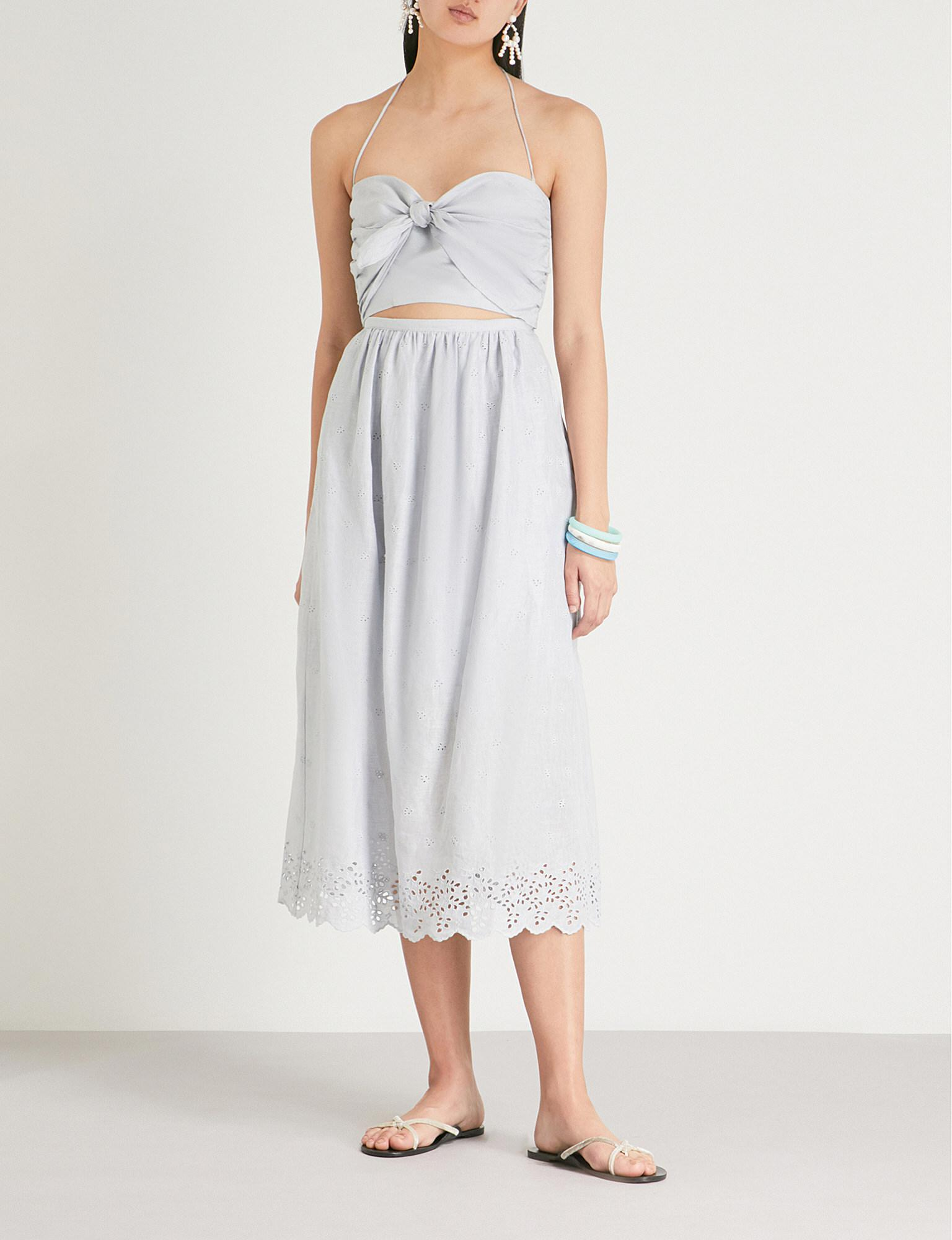 1eb3b5cc81 Zimmermann Iris Embroidered Linen And Cotton-blend Midi Dress in ...