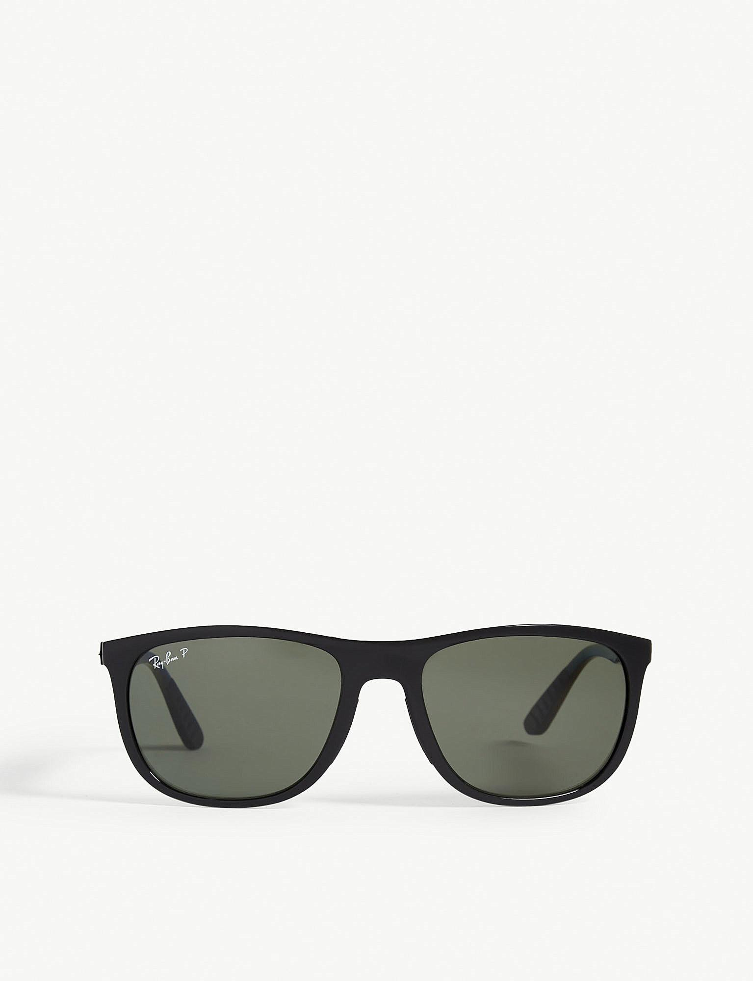 ff7e163a5cc54 Lyst - Ray-Ban Rb3716 Clubmaster Square-frame Sunglasses in Black ...