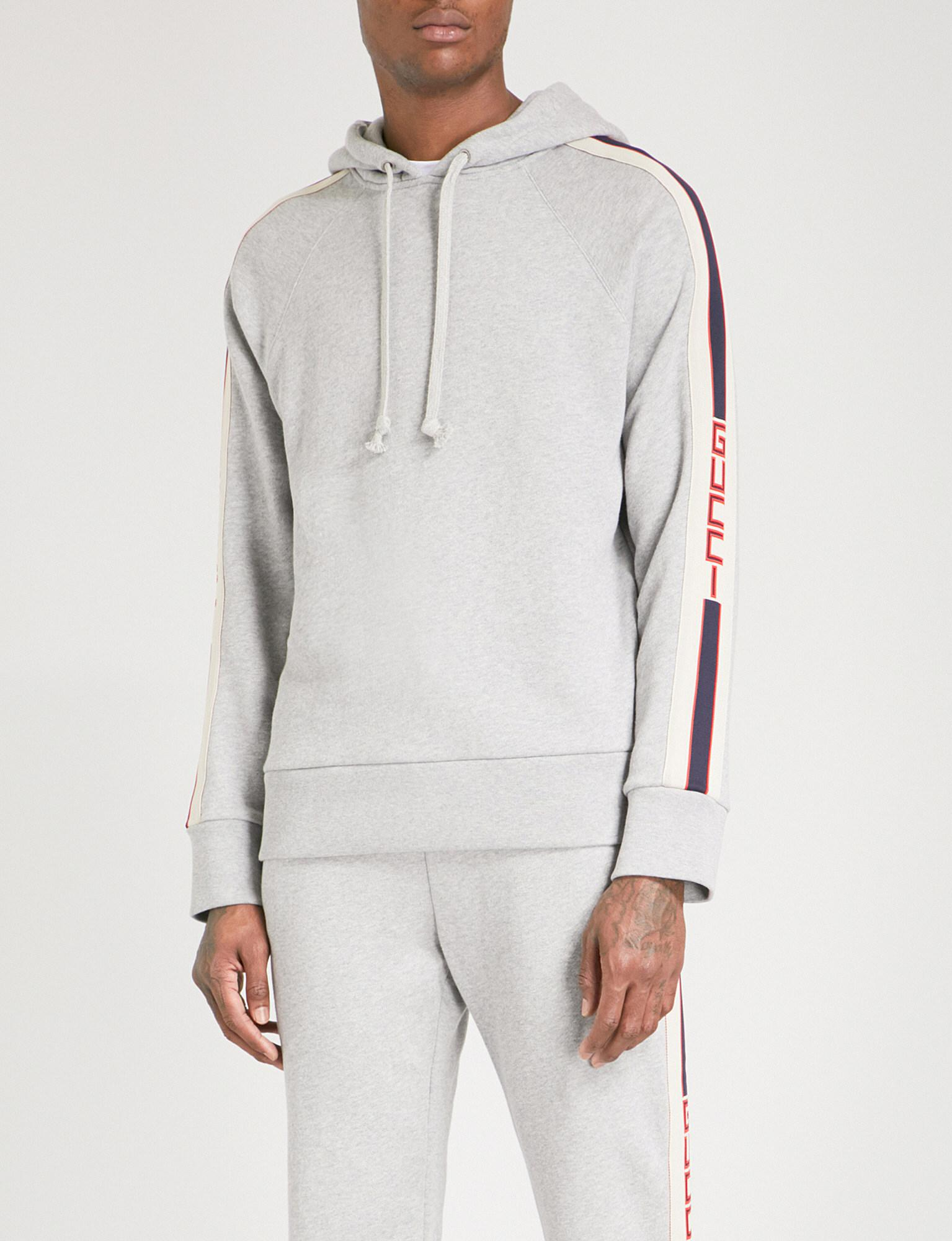 1f8e97d6fd Gucci Striped Cotton-jersey Hoody in Gray for Men - Lyst