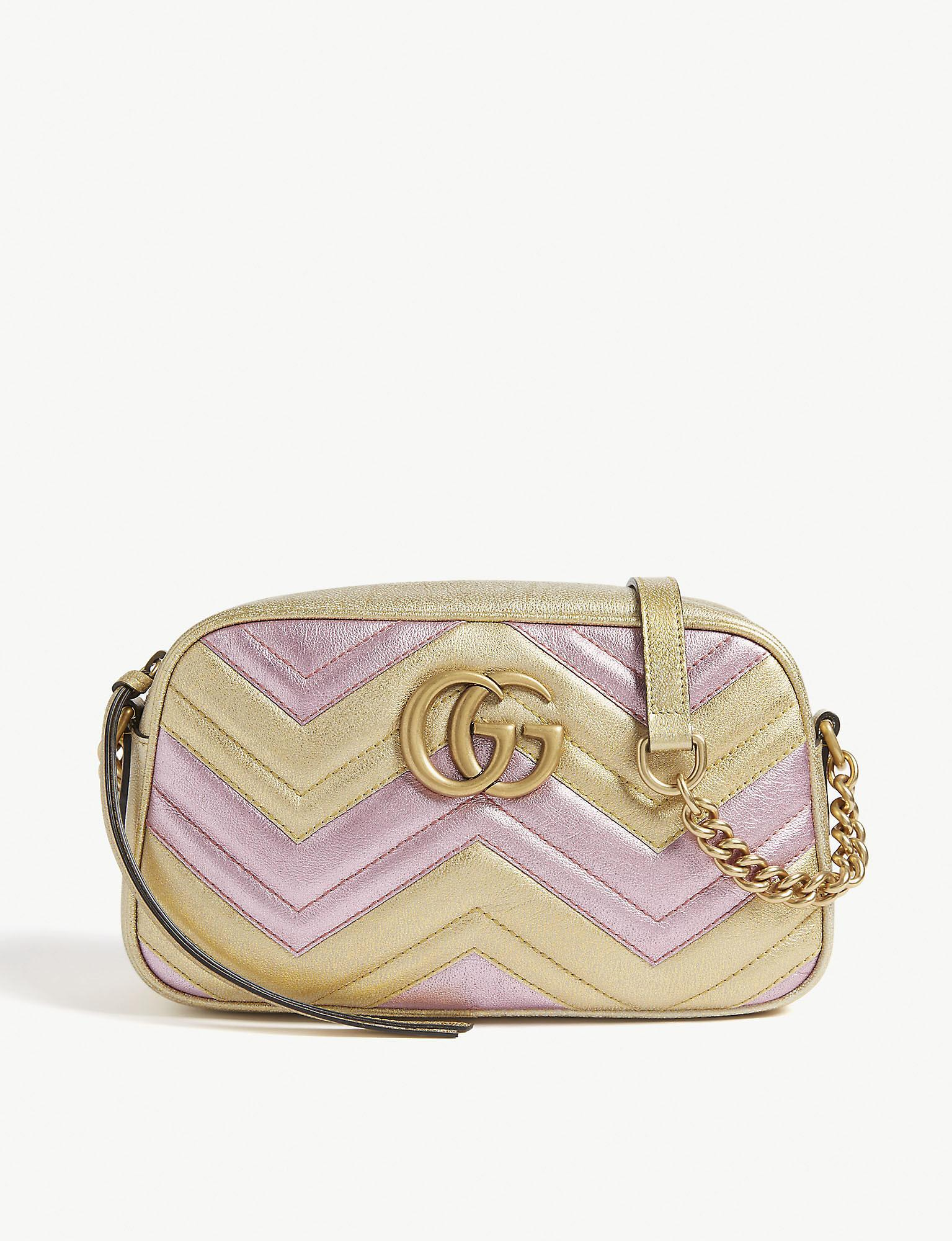 b1def03cf28ddd Gucci - Multicolor Women's Gold And Pink Zigzag GG Marmont Metallic Quilted  Leather Shoulder Bag -. View fullscreen