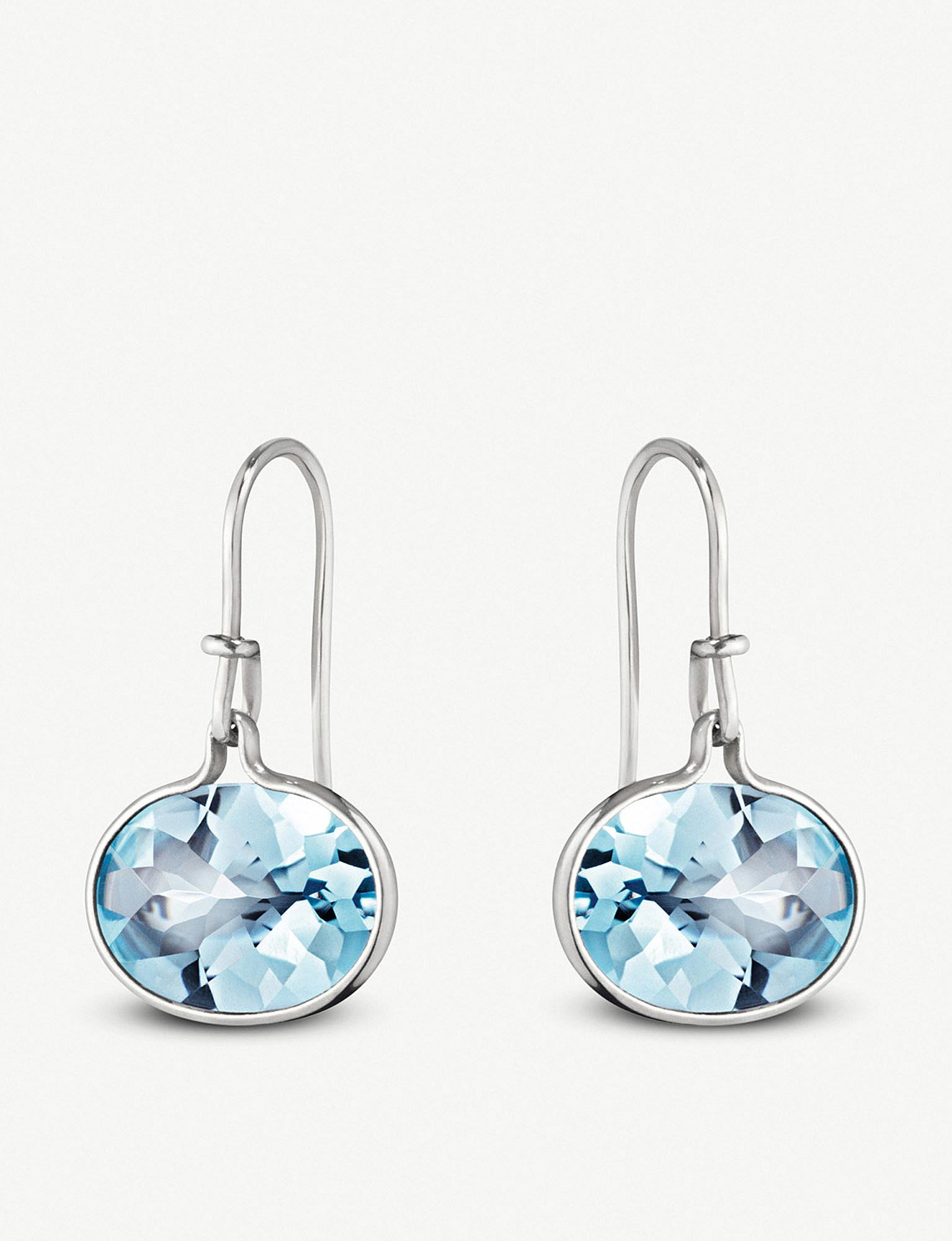 26cec2385 Lyst - Georg Jensen Savannah Sterling Silver And Blue Topaz Earrings ...