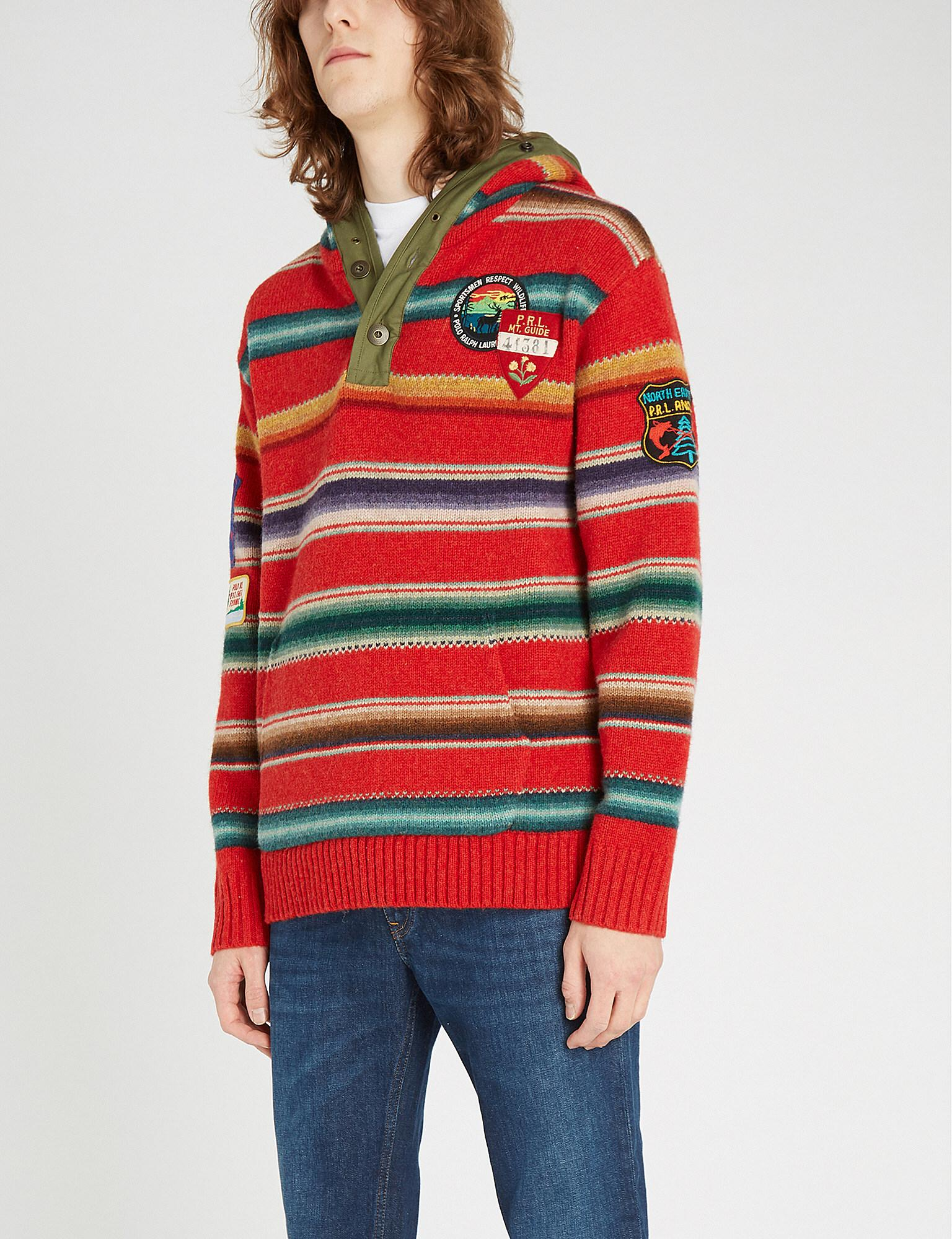 c98ca2e17c93 Lyst - Polo Ralph Lauren Striped Hooded Wool Jumper in Red for Men ...