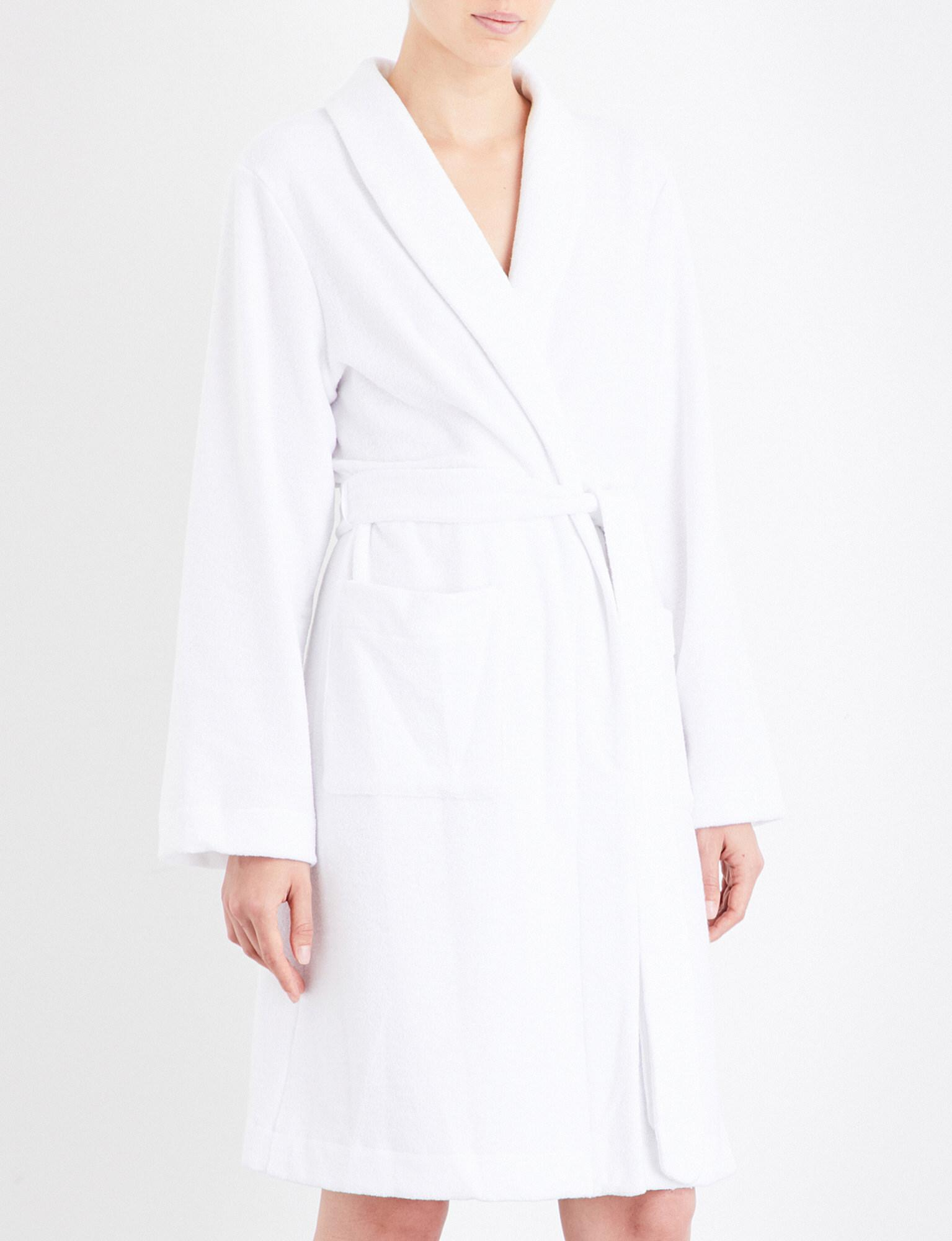 Lyst - Hanro Plush Towelling Robe in White