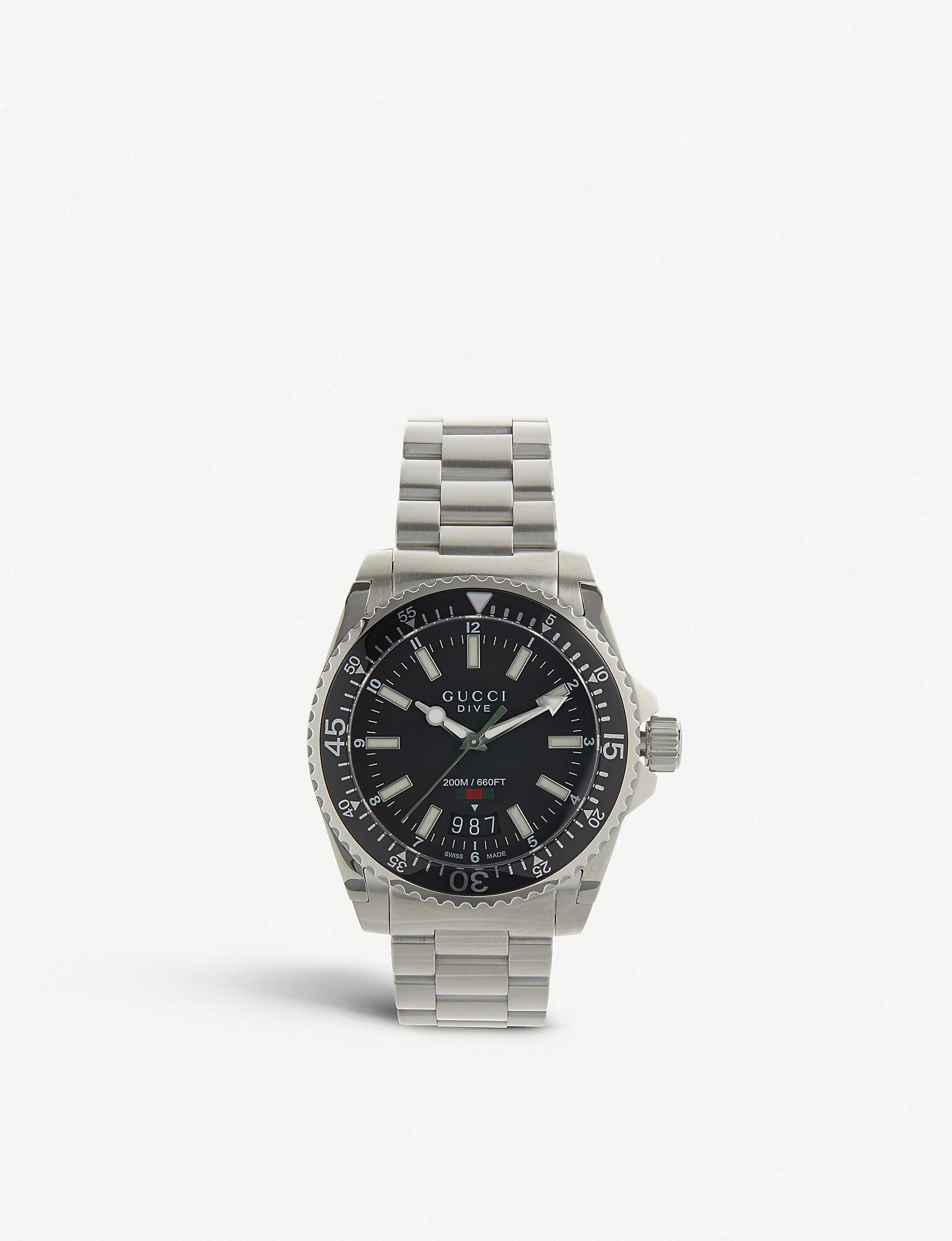 9da02825265 Lyst - Gucci Ya136301 Dive Stainless Steel Watch in Black for Men