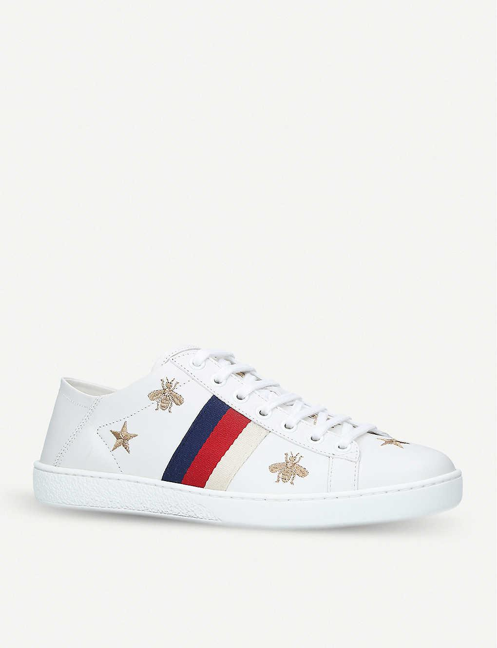 Gucci New Ace Bee-embroidered Leather