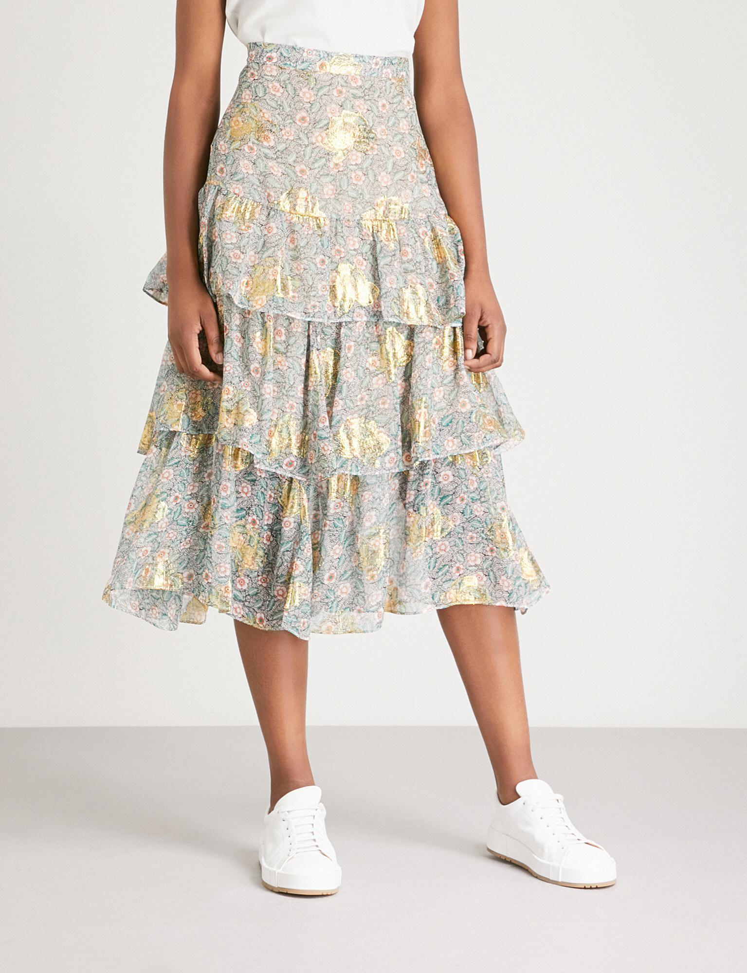 3d62dba9742 The Kooples Western Floral-print Silk-chiffon Skirt - Lyst