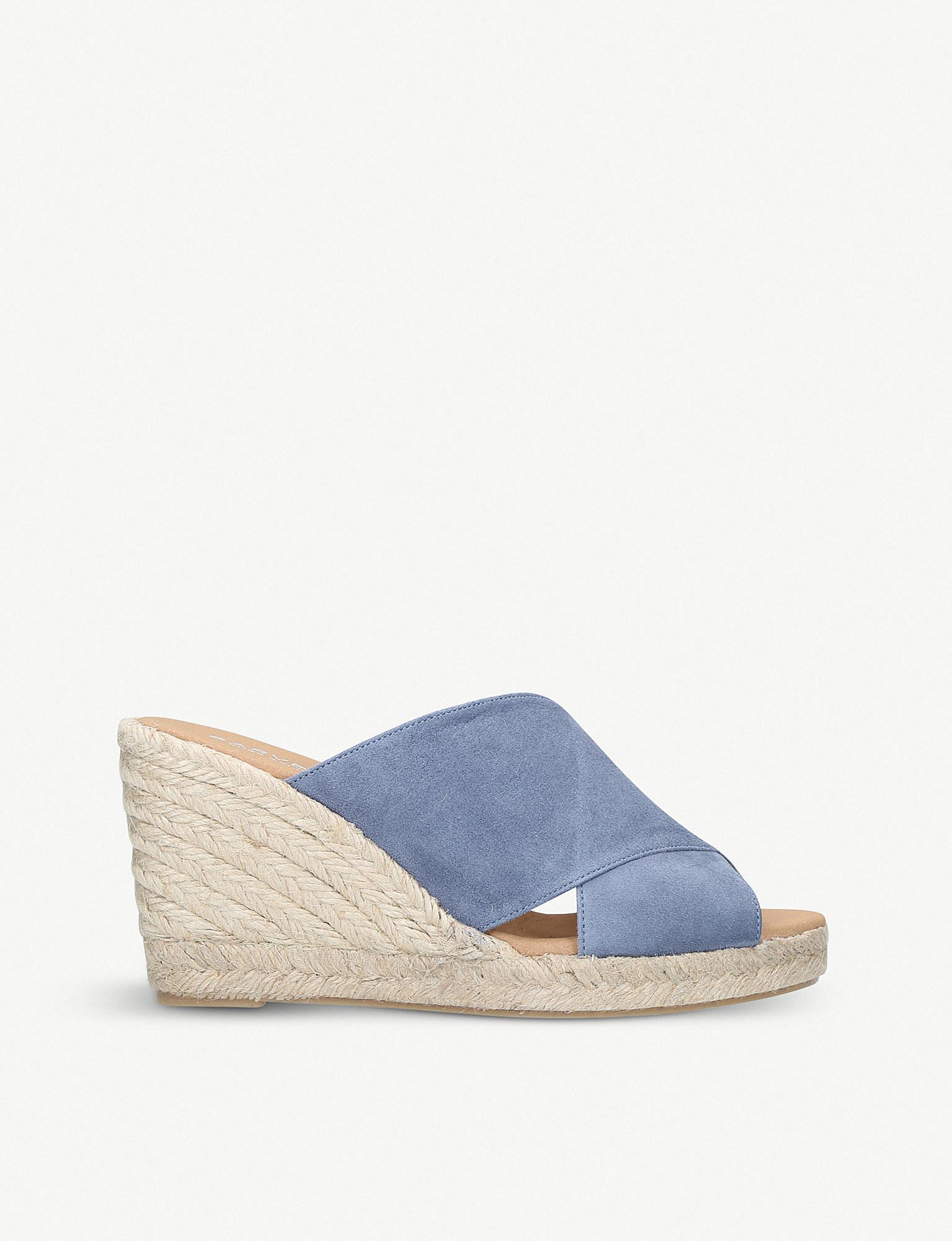 3c57fdf30816 Carvela Kurt Geiger Karp Leather Wedge Mules in Blue - Save 58% - Lyst
